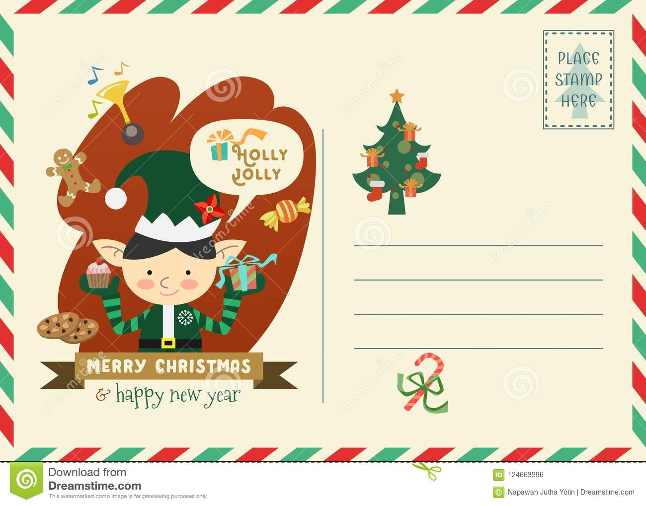 merry christmas and happy new year invitation with elf character christmas postage style greeting card