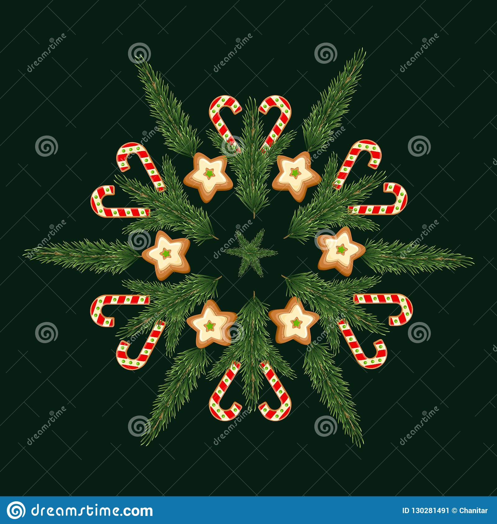 merry christmas and happy new year invitation trendy with cookie and christmas tree designs on snow