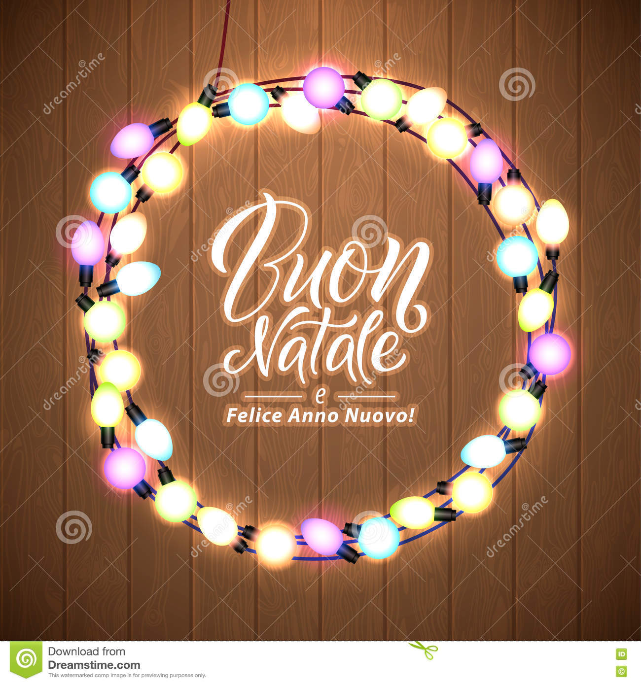 merry christmas and happy new year italian language glowing christmas lights wreath for xmas