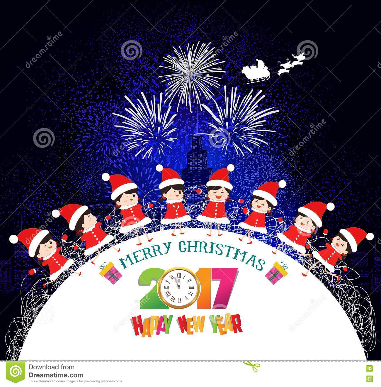 merry christmas and happy new year 2017 kids background children in circle winter