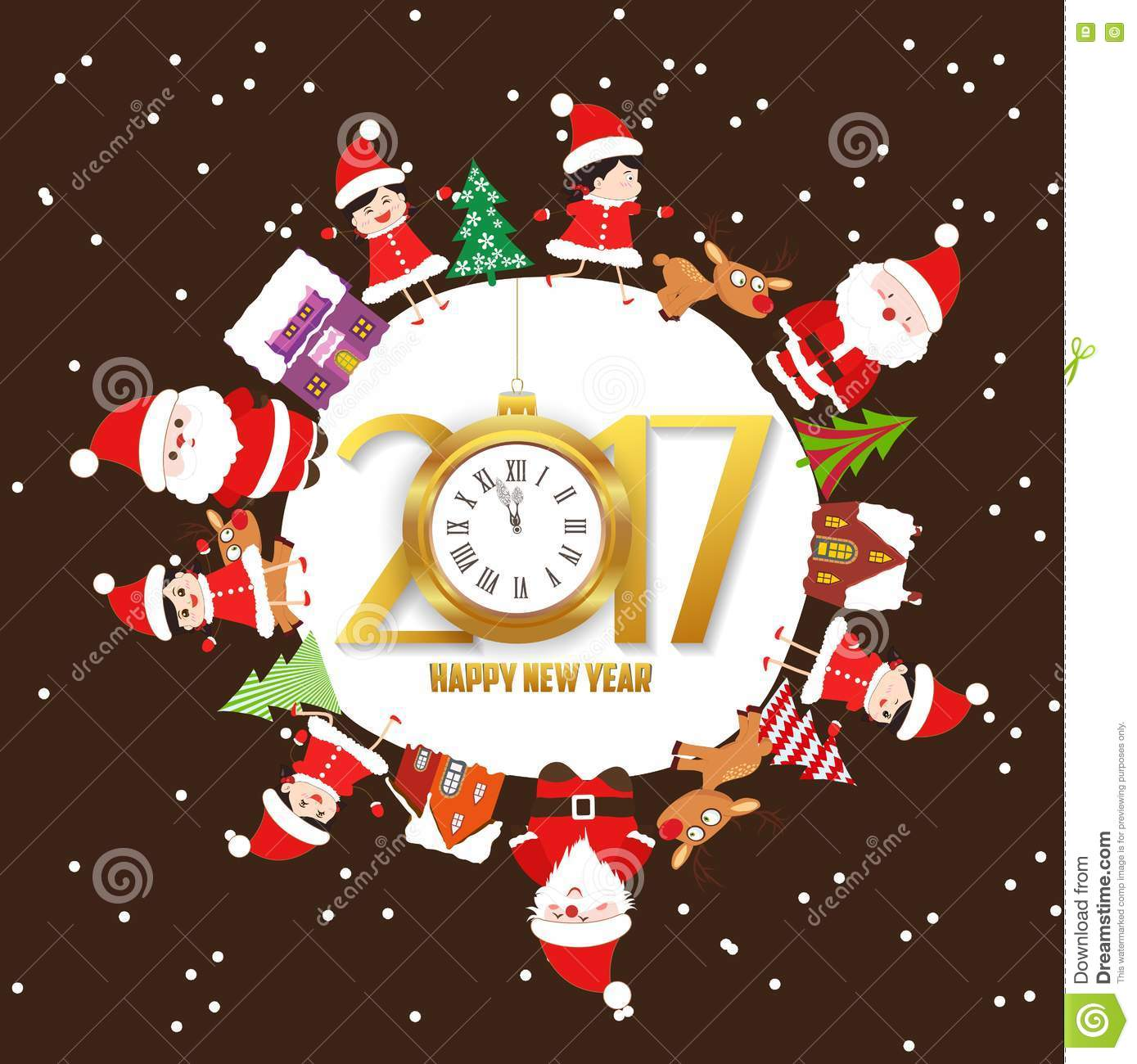 merry christmas and happy new year 2017 with kids and clock on earth greeting card