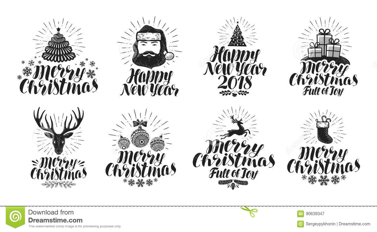 merry christmas and happy new year label set xmas holiday icons or logos
