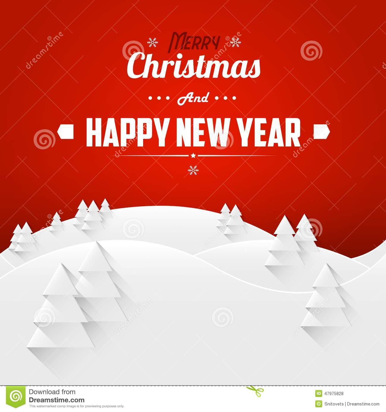 Merry Christmas And Happy New Year Landscape Greeting Card Retro