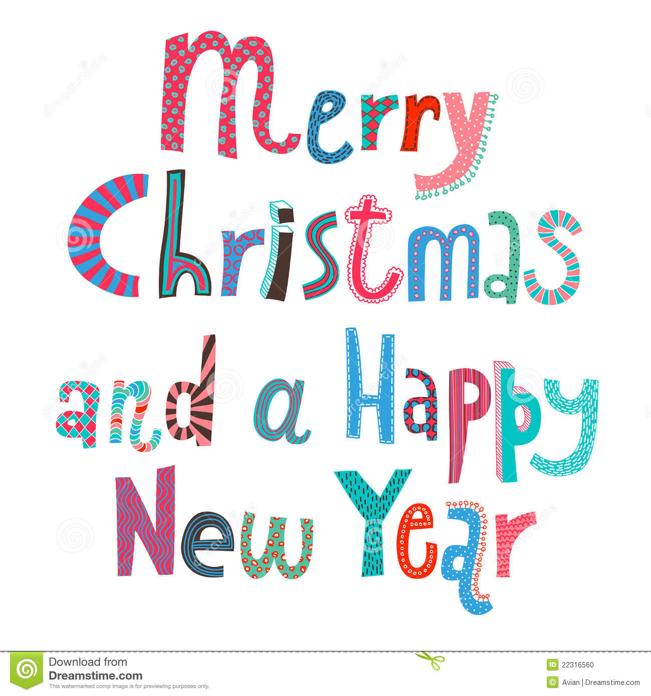 Merry Christmas And A Happy New Year Lettering Stock Vector ...