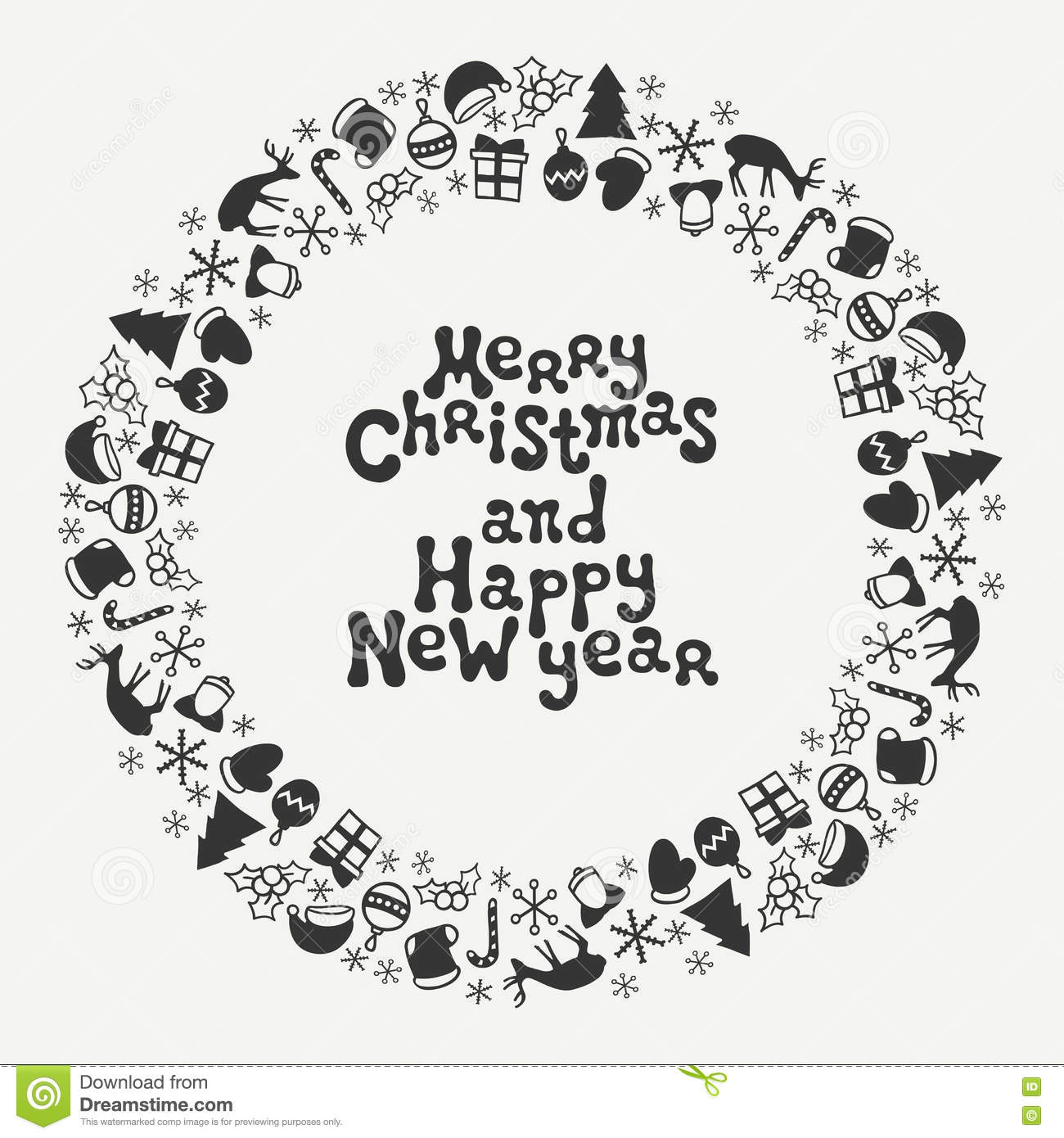 Download Merry Christmas And Happy New Year Lettering Greeting Card 2017 Season Hand Drawn