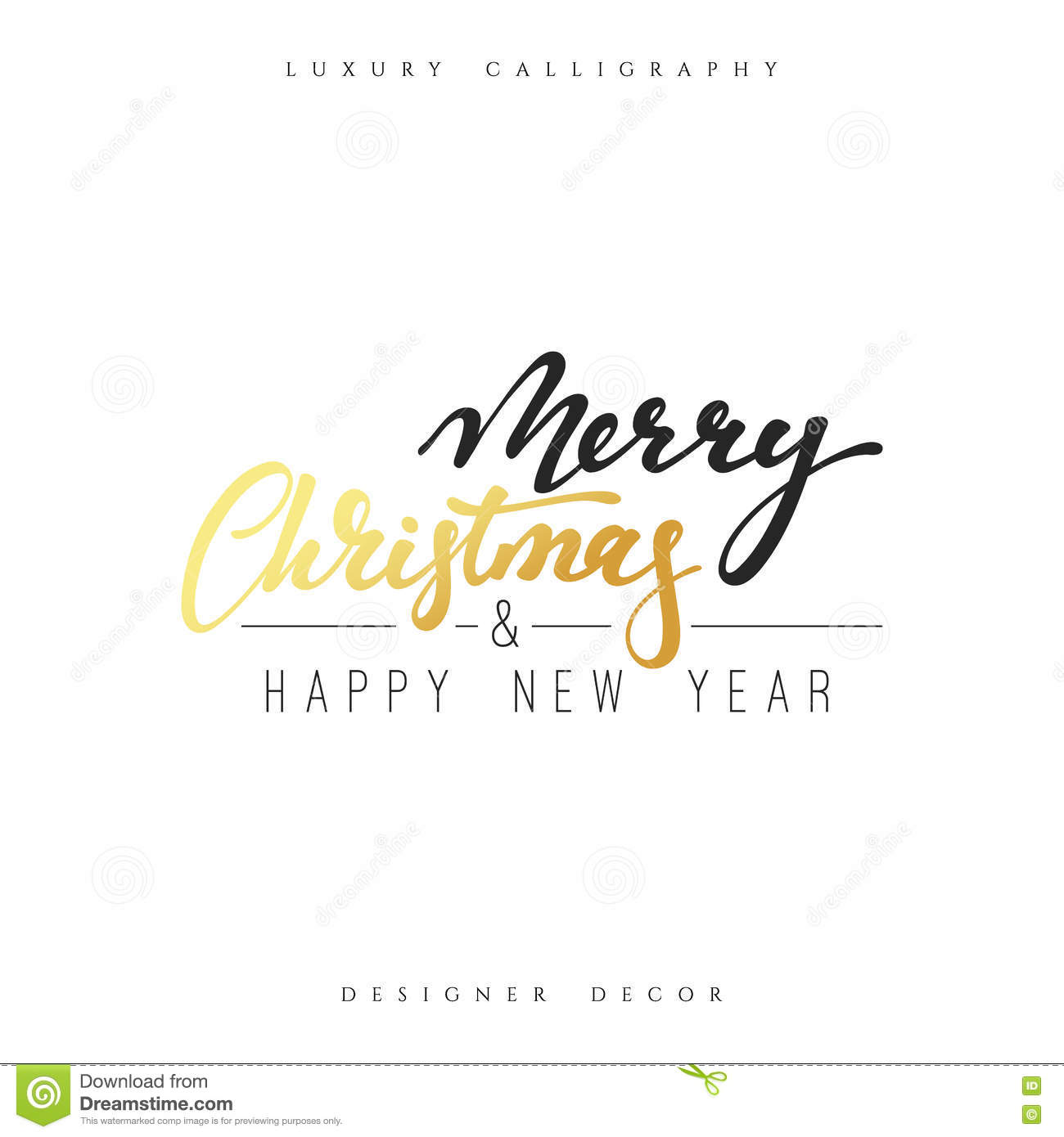 Merry christmas and happy new year lettering handmade