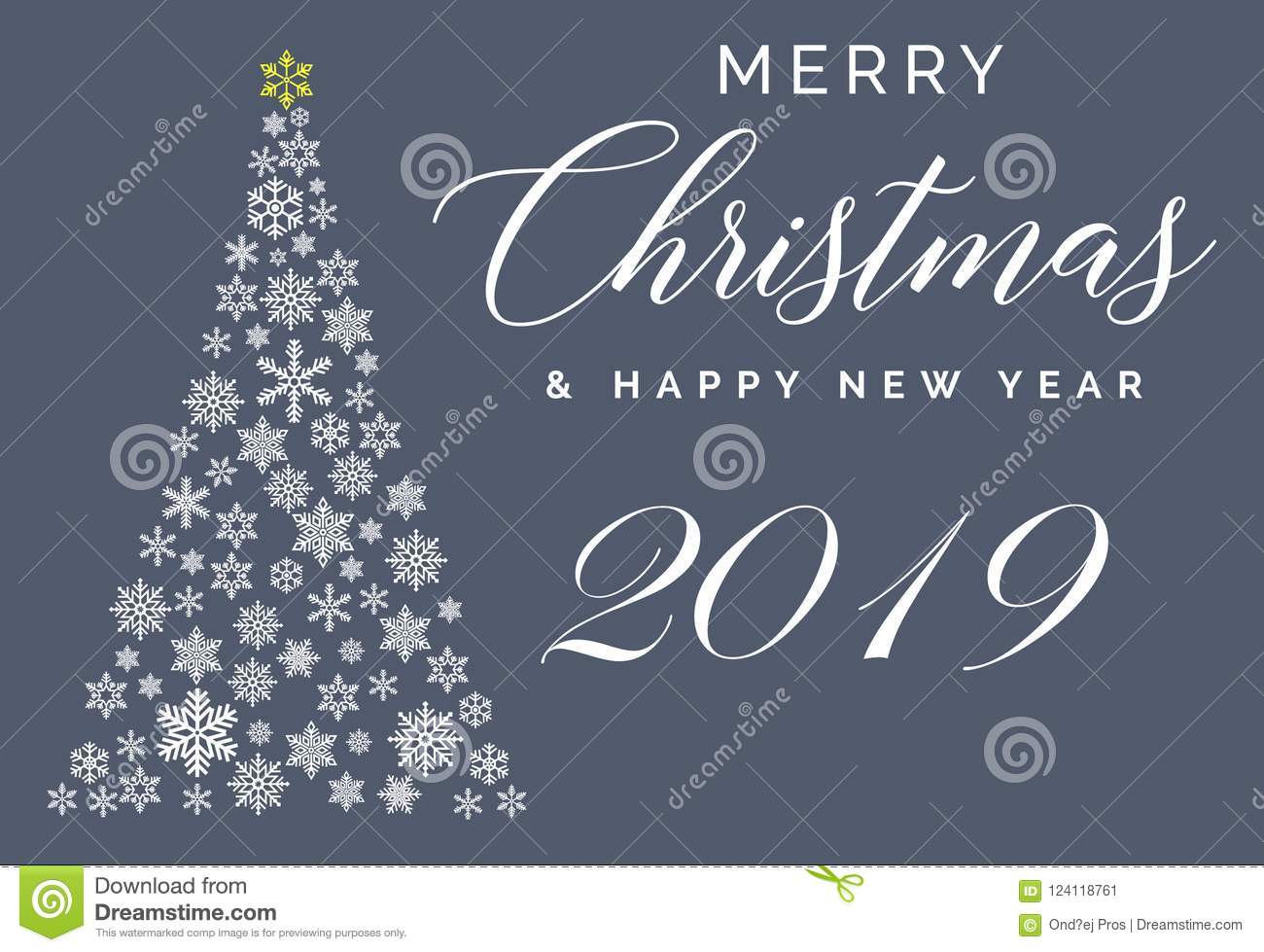 Merry Christmas And Happy New Year 2019 Lettering Template