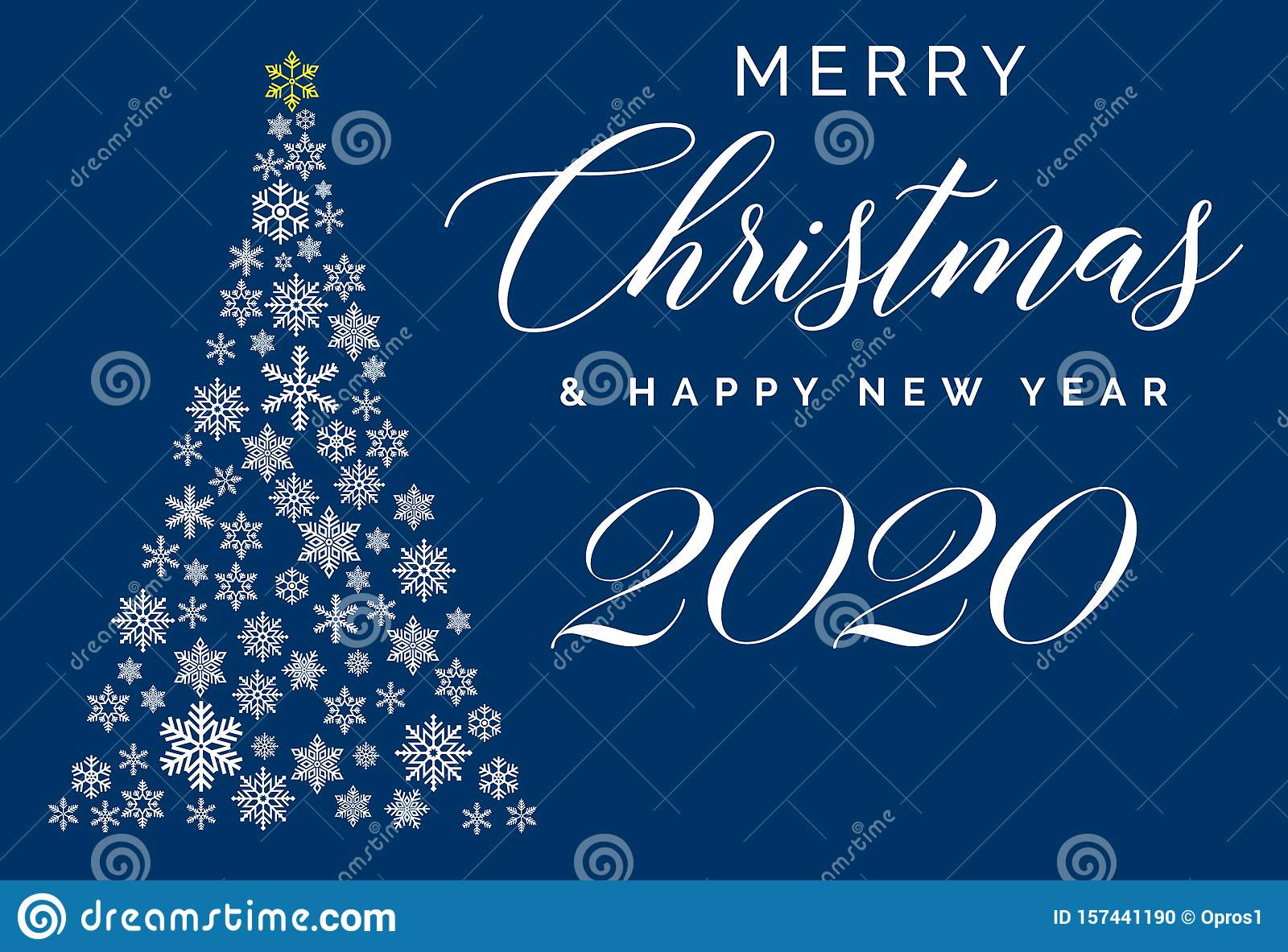 Merry Christmas And Happy New Year 2020 Lettering Template Greeting Card Or Invitation Winter Holidays Related Typograph Stock Vector Illustration Of Holiday Lettering 157441190