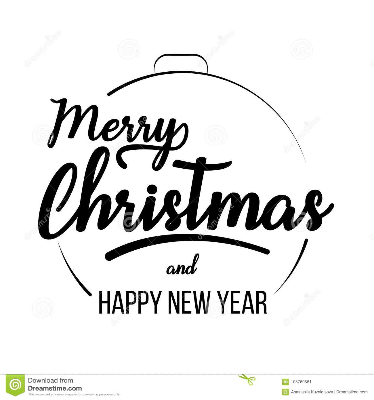 Merry Christmas And Happy New Year Lettering Template Stock Vector