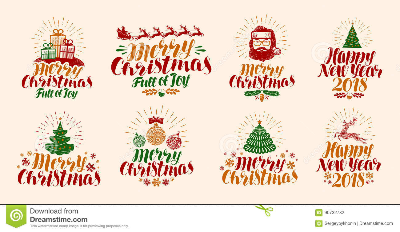 Merry Christmas And Happy New Year, Lettering. Xmas, Yuletide ...