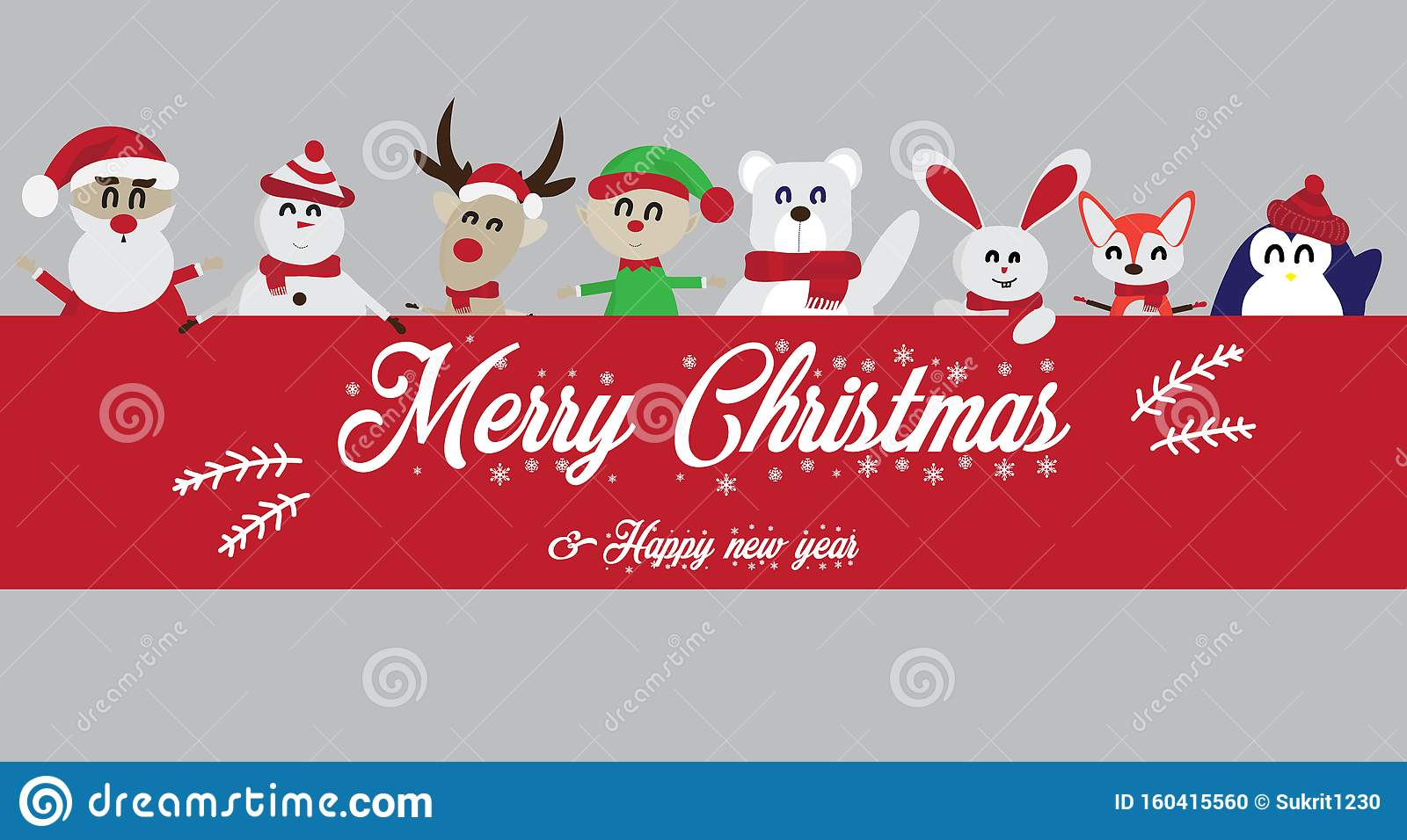 Santa Claus With Children Vector. Merry Christmas And