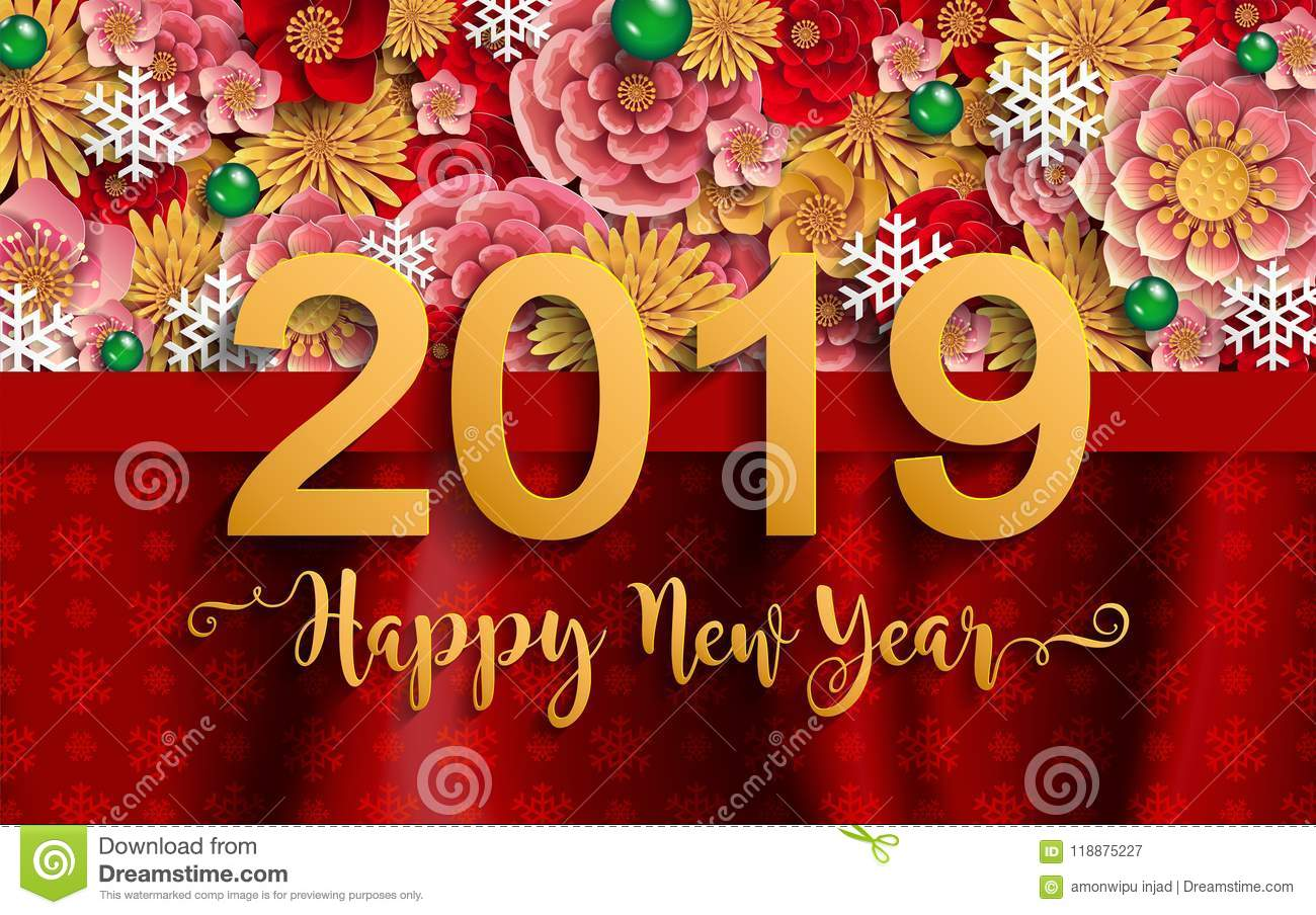 merry christmas and happy new year 2019 background beautiful flower paper cut art and craft style on color background