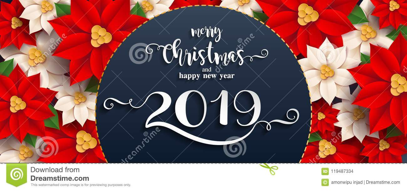 Merry Christmas And Happy New Year 2019. Stock Vector - Illustration ...