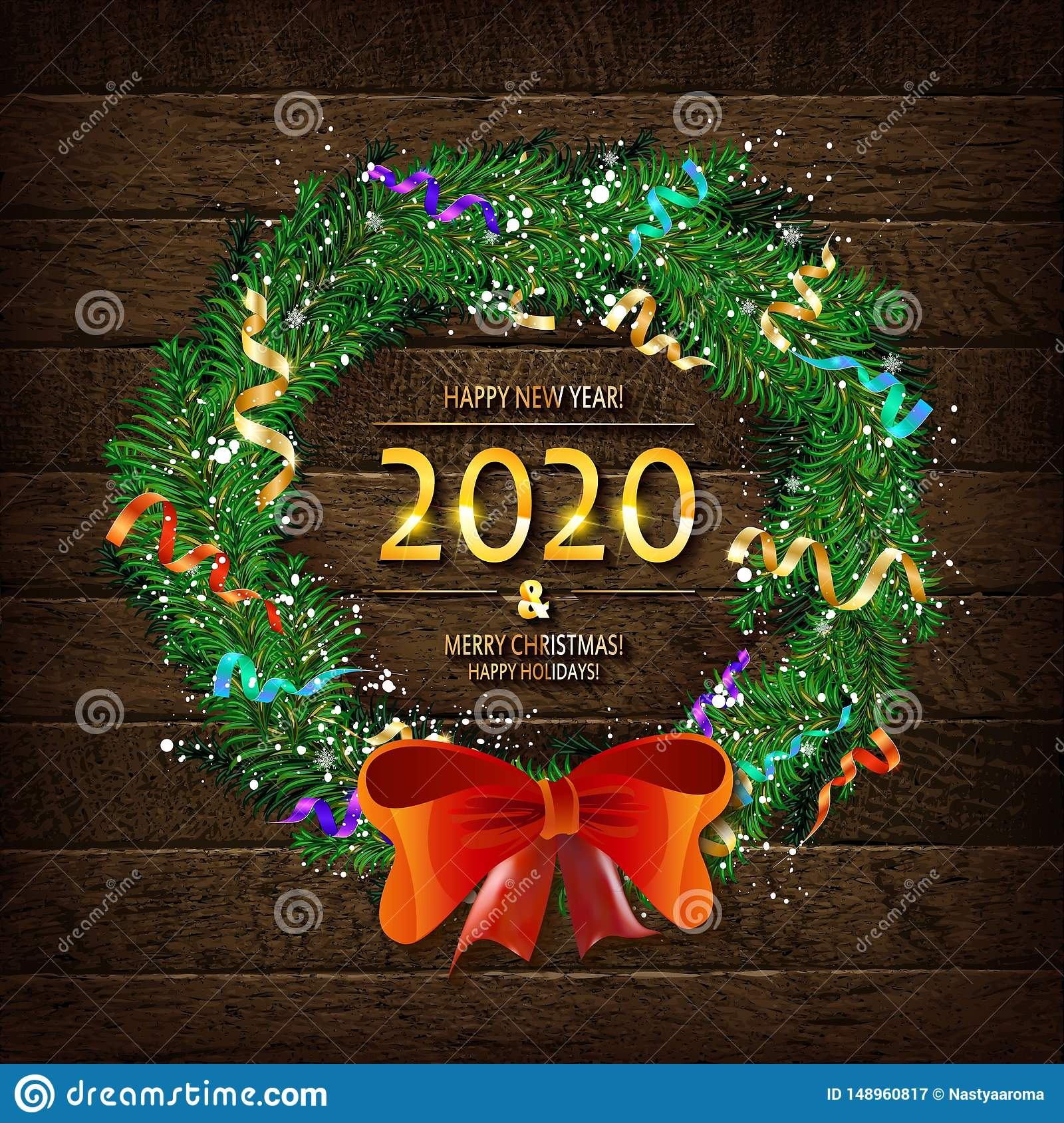 merry christmas and happy new year 2020 stock illustration illustration of golden frame 148960817 https www dreamstime com merry christmas happy new year merry christmas happy new year background christmas wreath snow fir cones tangerines image148960817