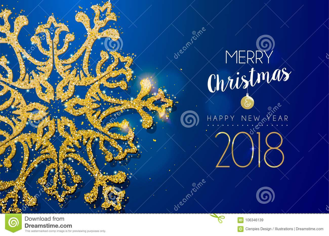 christmas and new year 2018 gold glitter snowflake