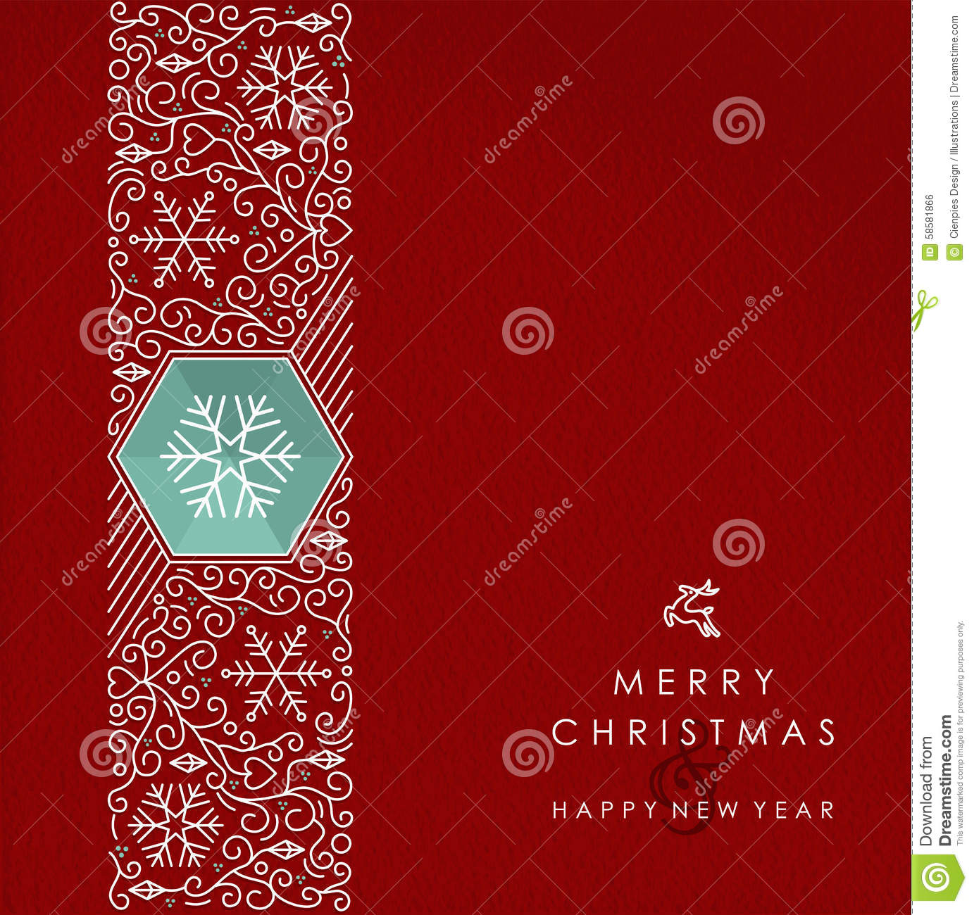 Merry Christmas And Happy New Year Monogram Card Stock Vector