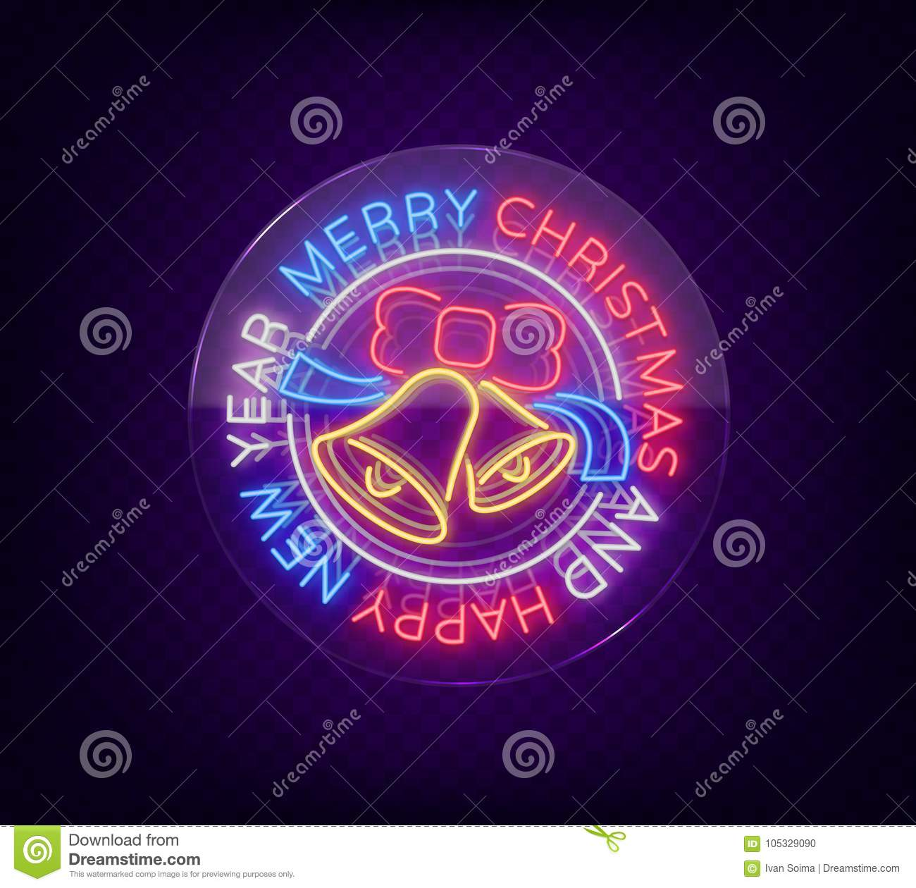 Merry Christmas And Happy New Year Neon Sign Neon Symbol For Your
