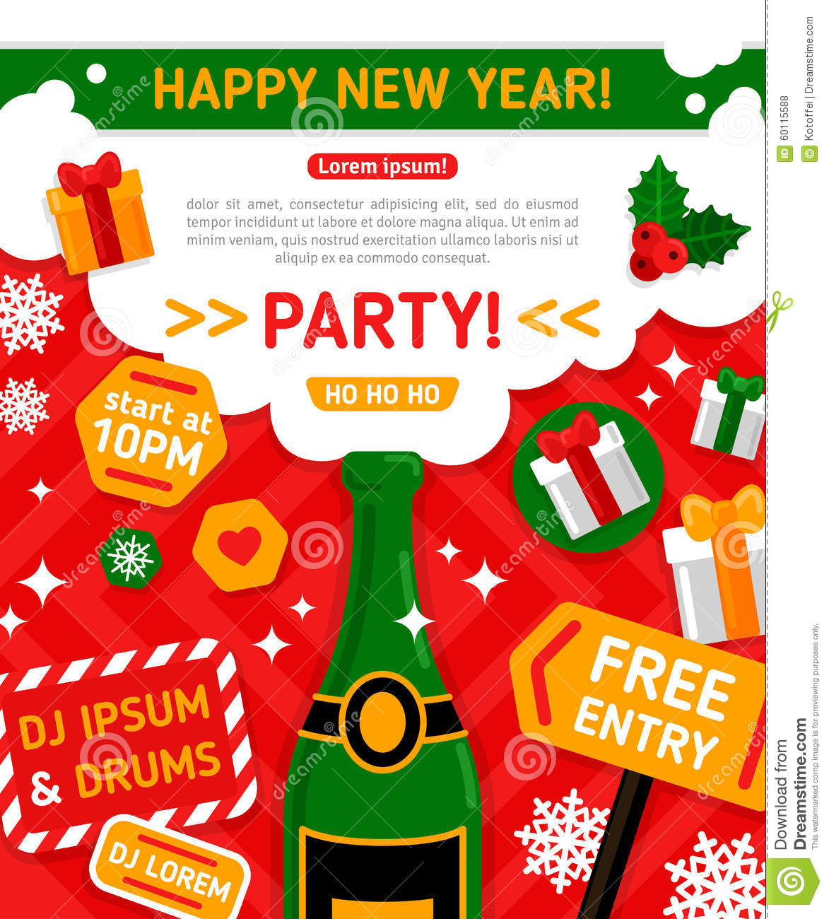 Funky New Year Party Invitations Component - Invitations and ...