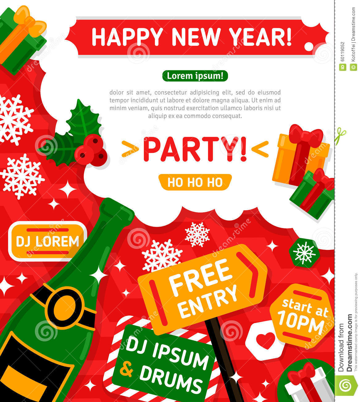 merry christmas and happy new year party invitation card vector illustration champagne bottle with foam typographic design new year 2016 poster