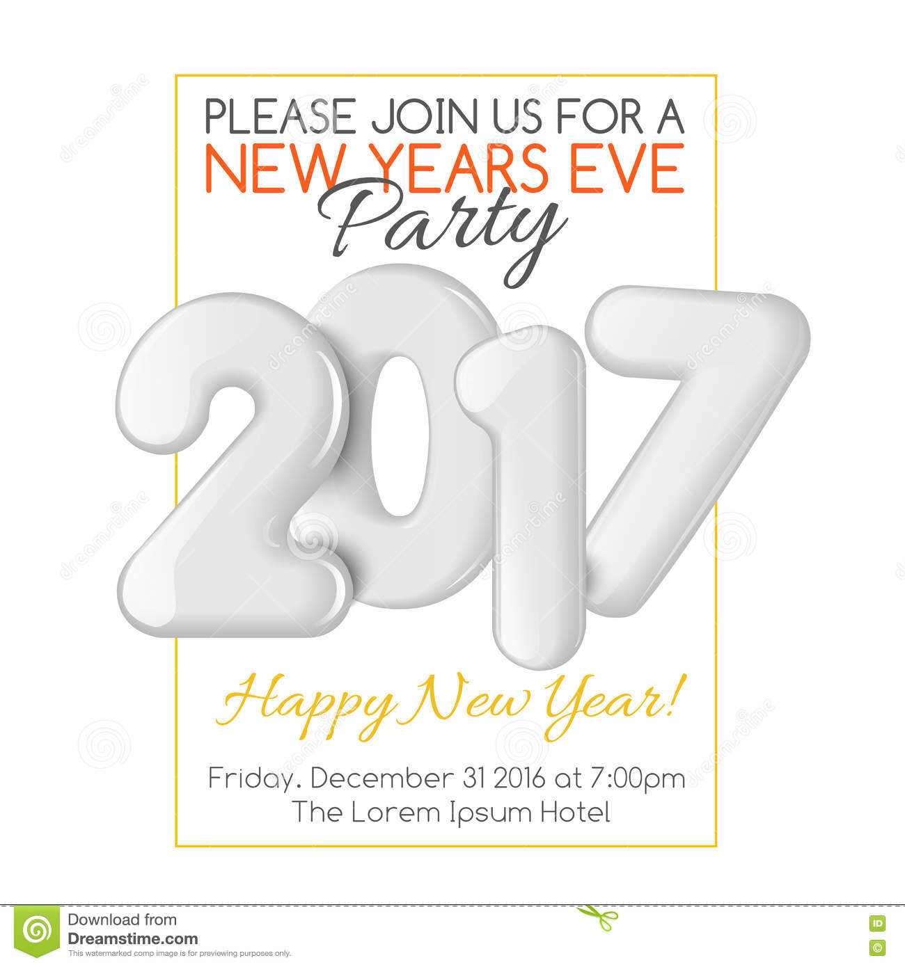 Merry Christmas And Happy New Year Party Invitation Template - New years eve party invitation templates free