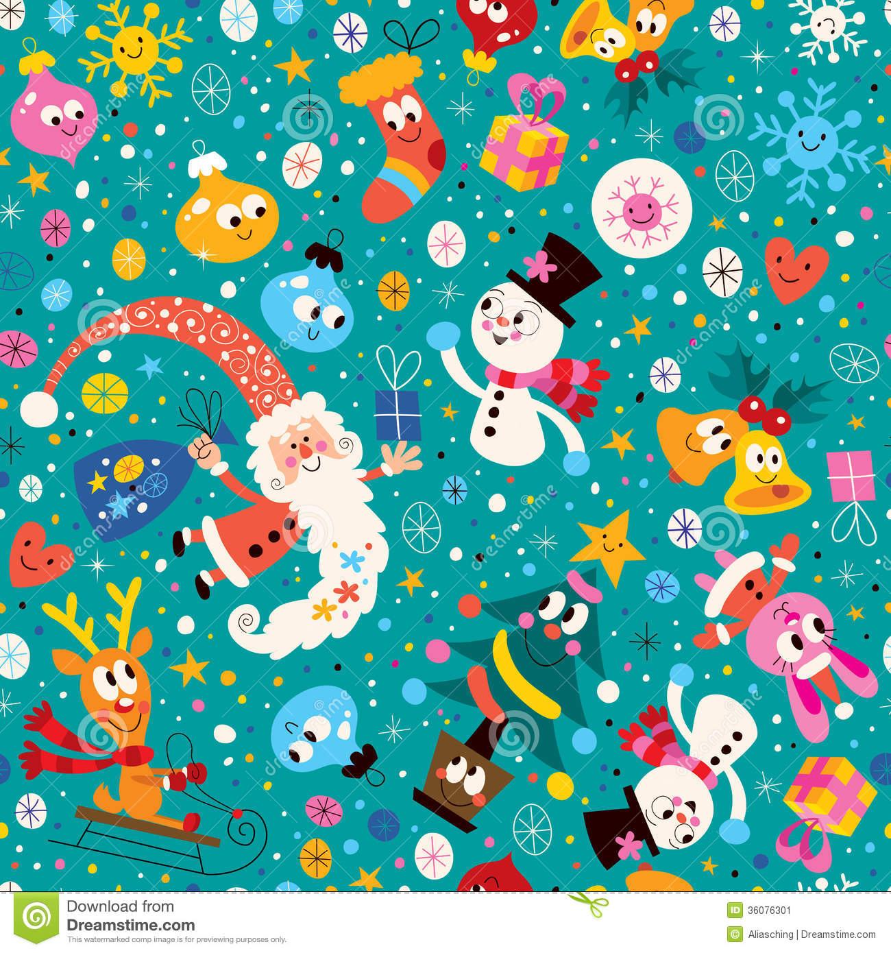 Merry Christmas And Happy New Year Pattern Stock Vector ...