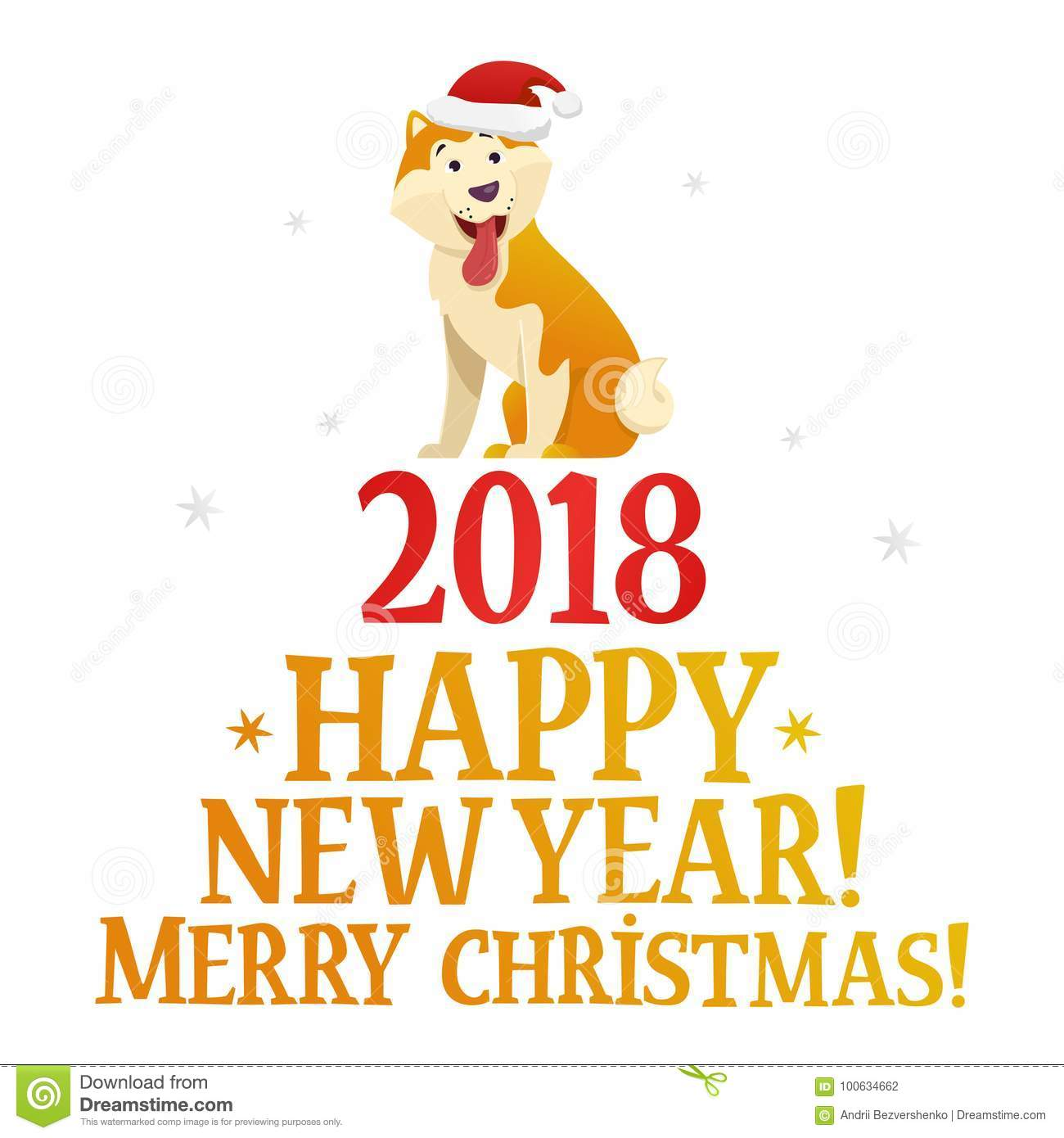 merry christmas and happy new year postcard template with the cute yellow dog on white background