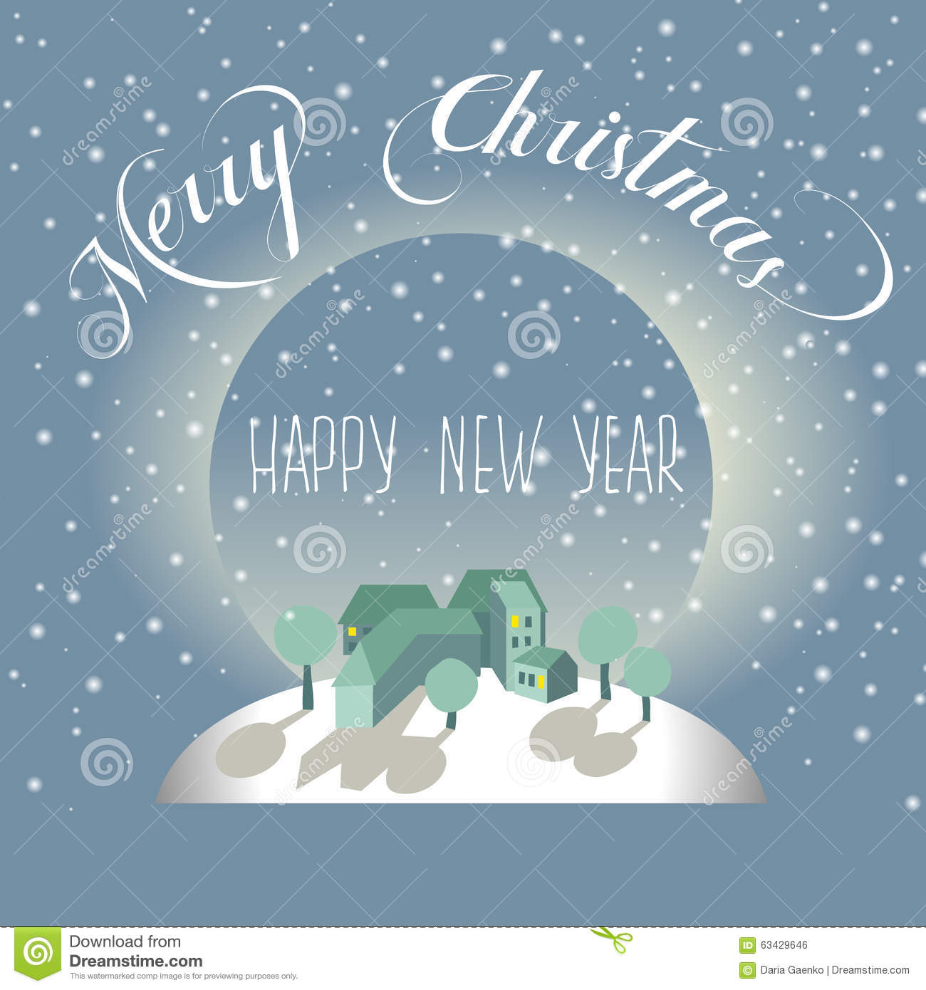 Merry Christmas And Happy New Year Postcard Stock Illustration ...