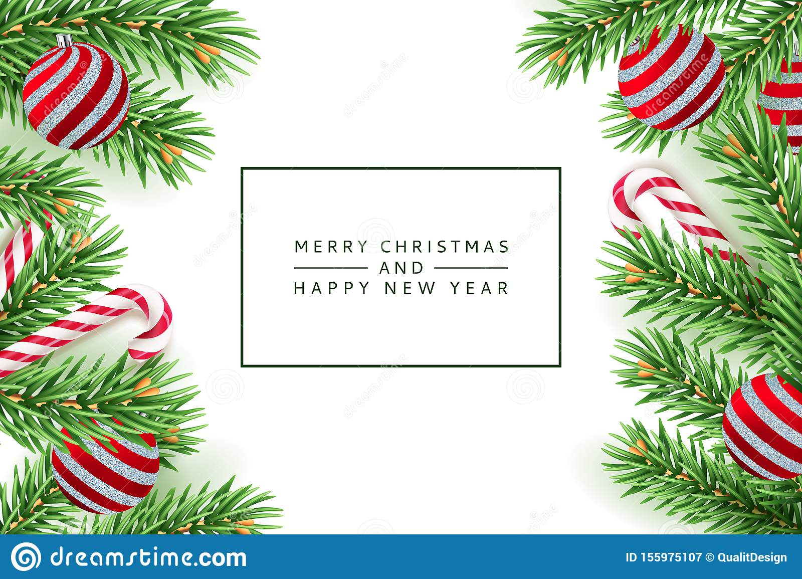 Merry Christmas, Happy New Year poster, banner. Vector 3d realistic illustration of pine branches, balls, striped candy