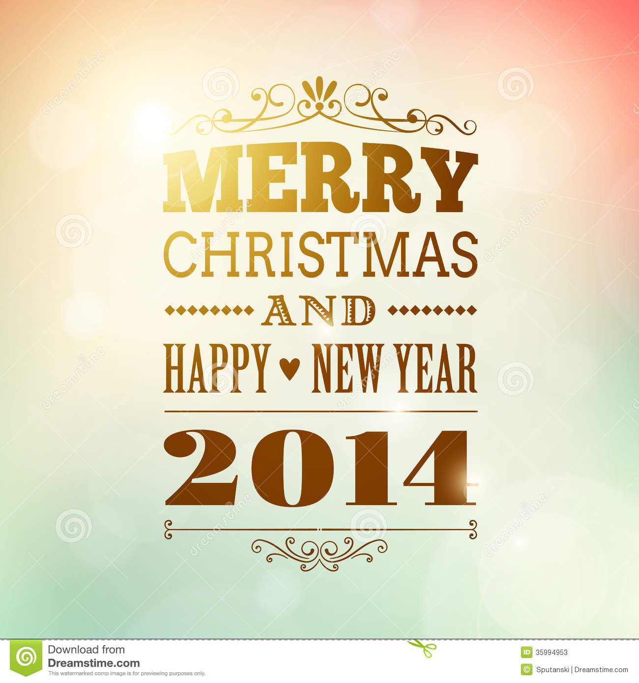 Merry Christmas And Happy New Year 2014 Poster Stock Vector ...