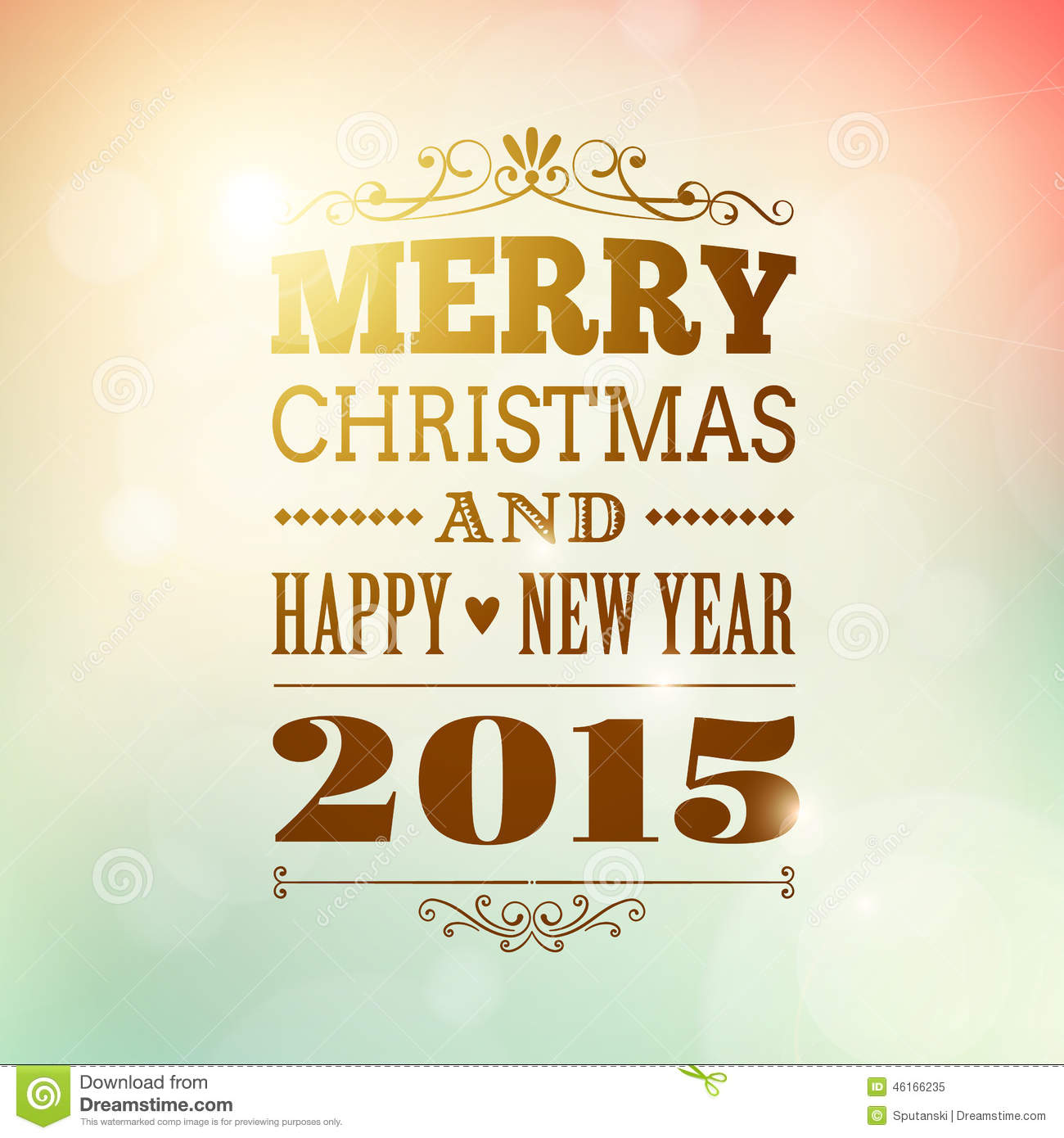 Merry Christmas And Happy New Year 2015 Poster Stock Vector