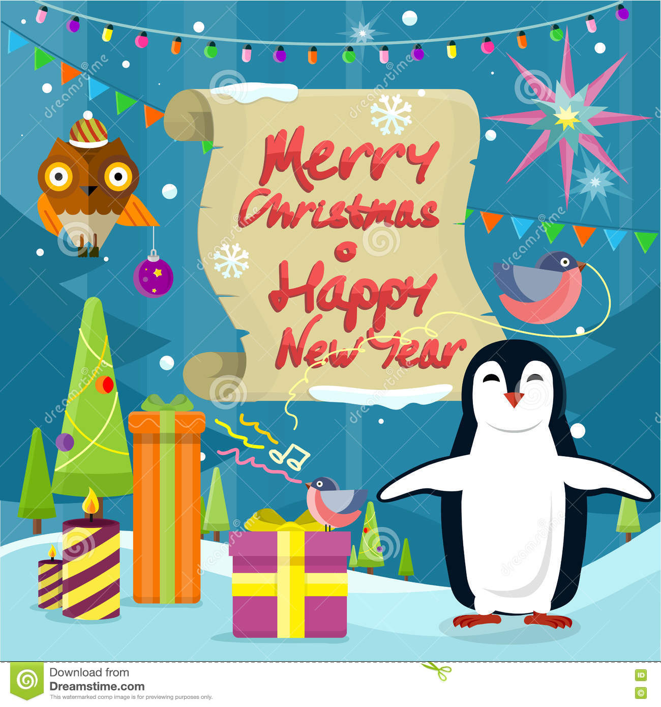 283f72c89ea99 Merry Christmas And Happy New Year Poster Penguins Stock Vector ...