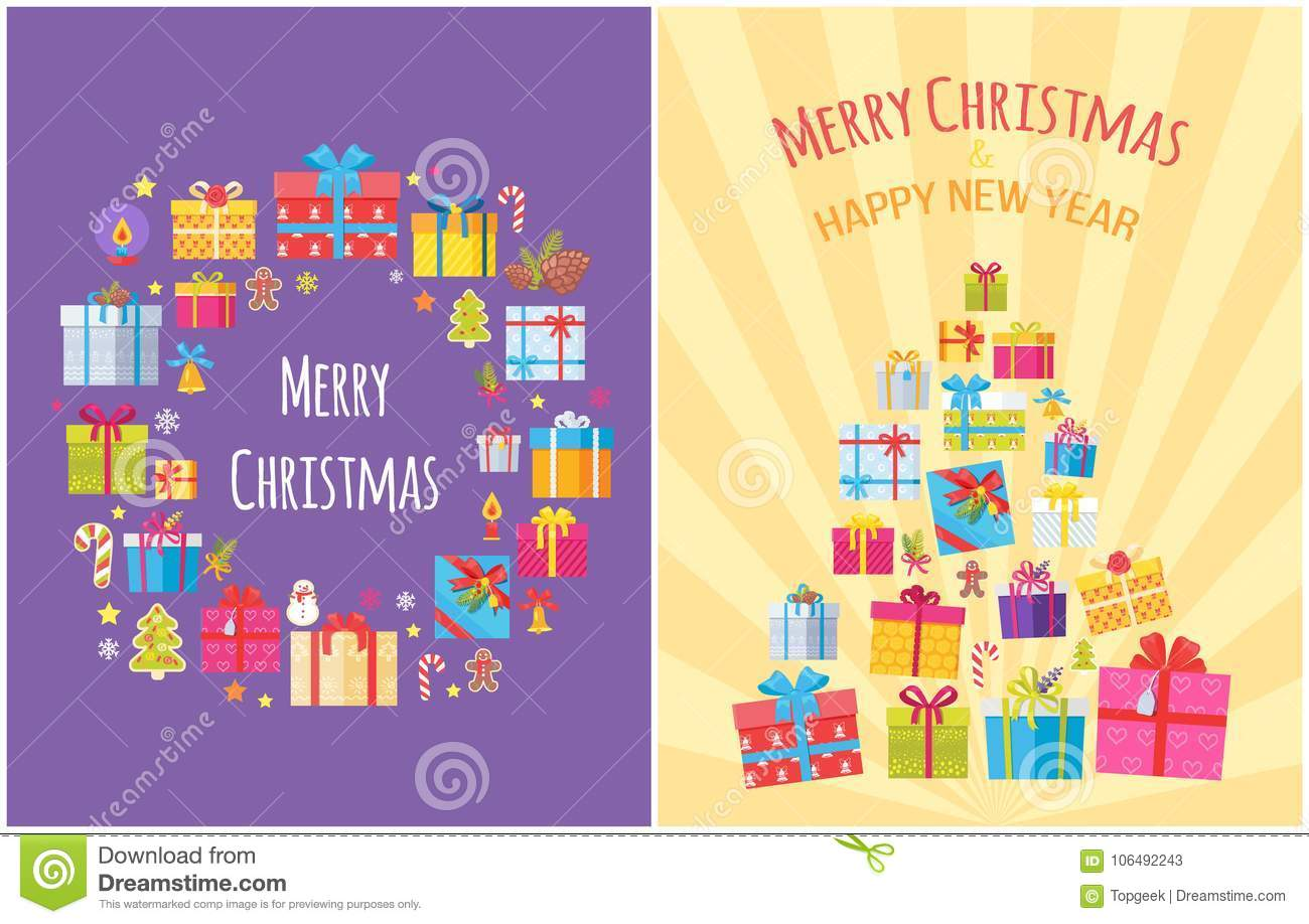 Merry Christmas Poster With Present Boxes Symbols Stock Vector