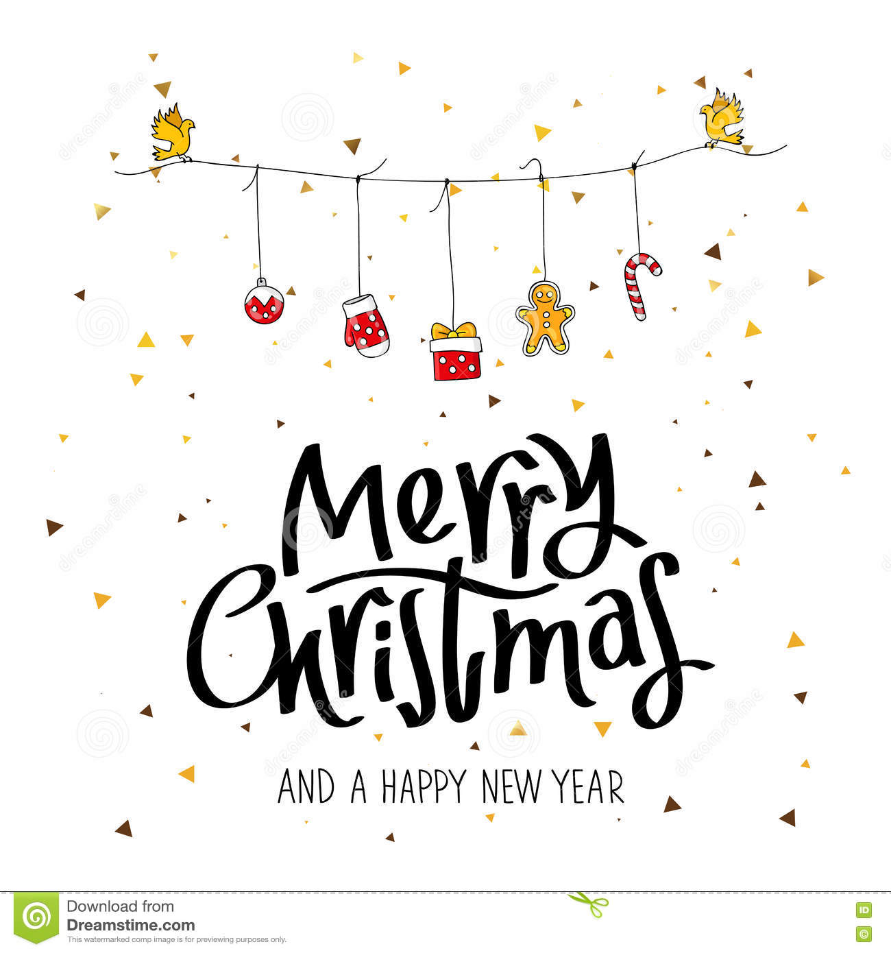 Merry Christmas And A Happy New Year Stock Vector - Illustration of