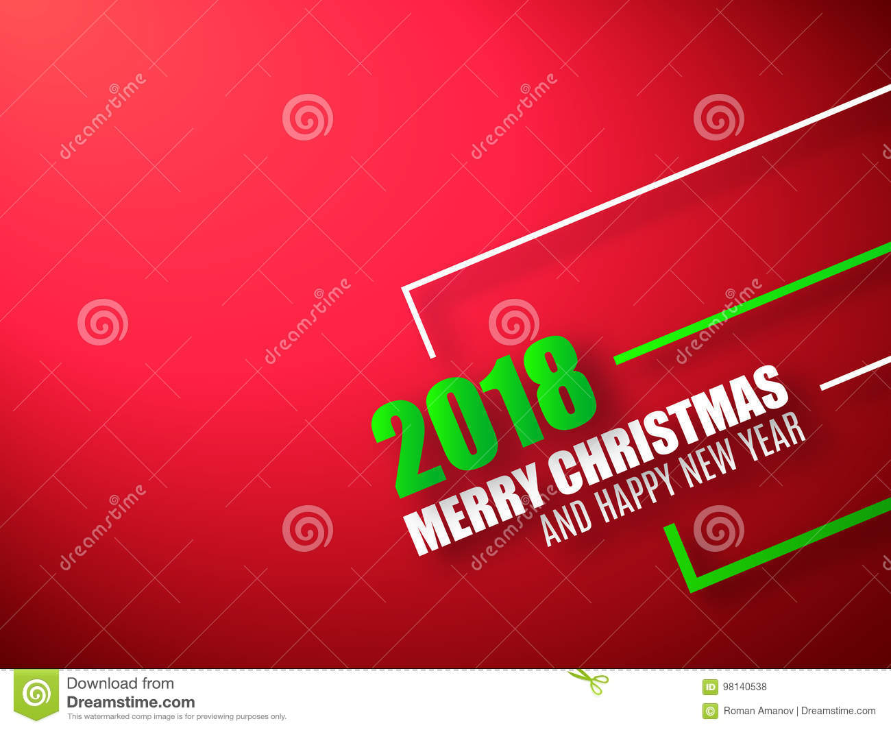 merry christmas and happy new year red background 2018 background