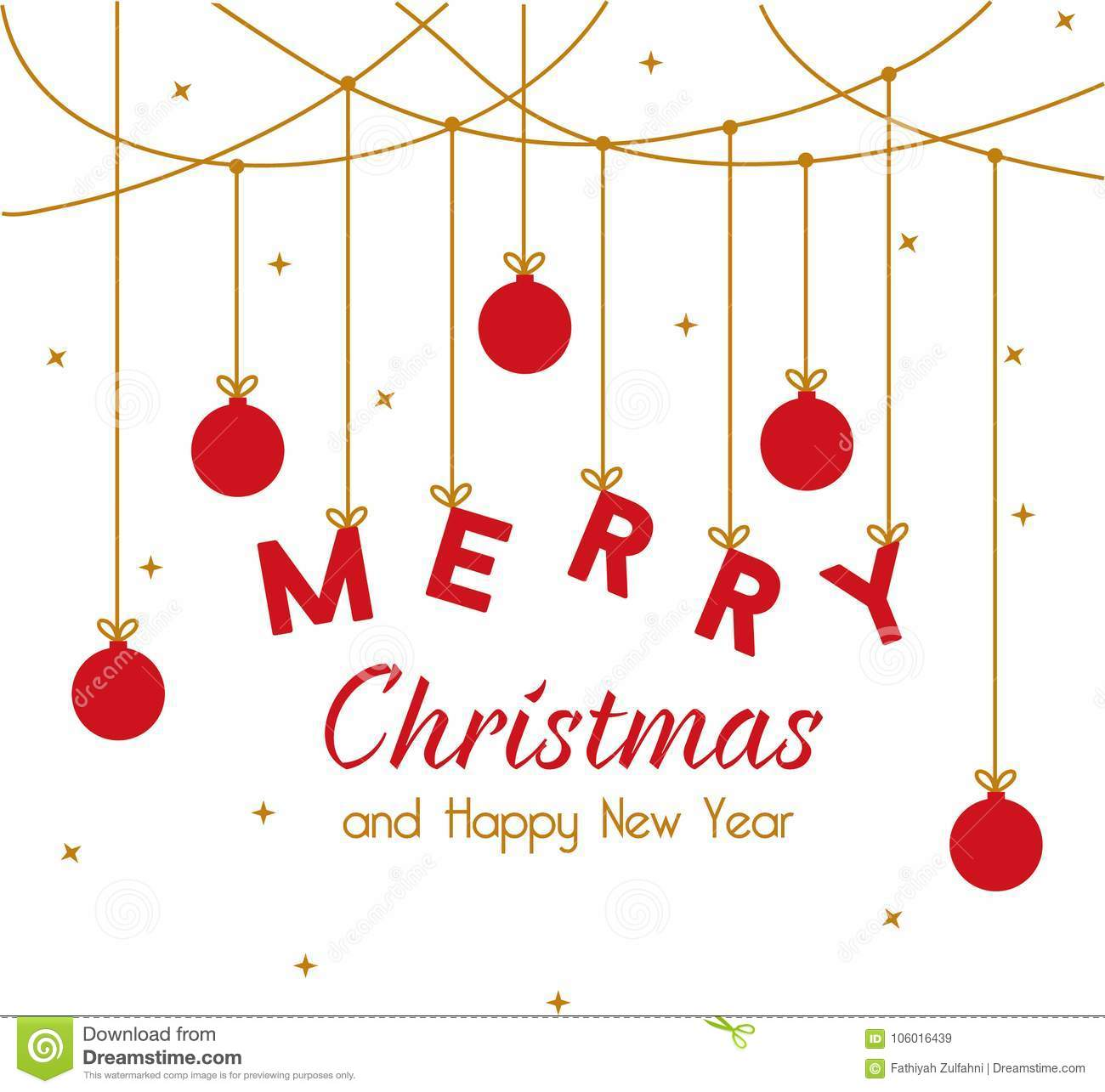 Merry Christmas And Happy New Year Stock Vector - Illustration of ...