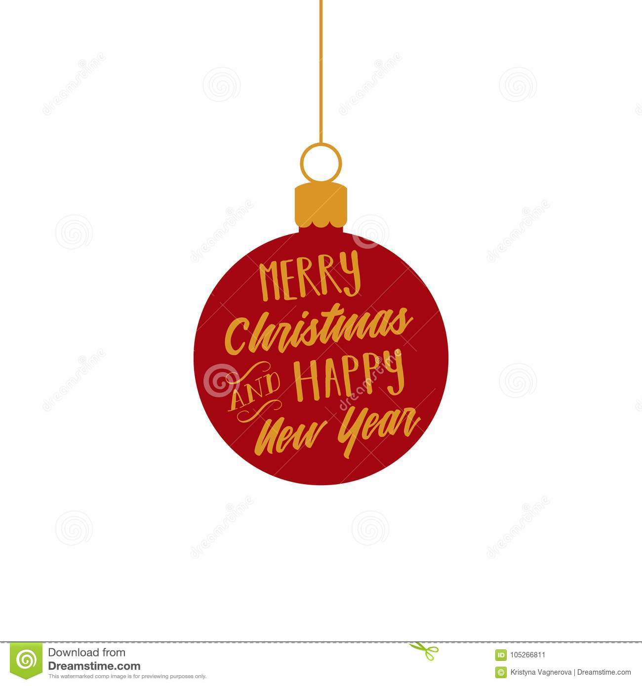 Christmas Ornaments Vector.Merry Christmas And Happy New Year Red And Gold Ball