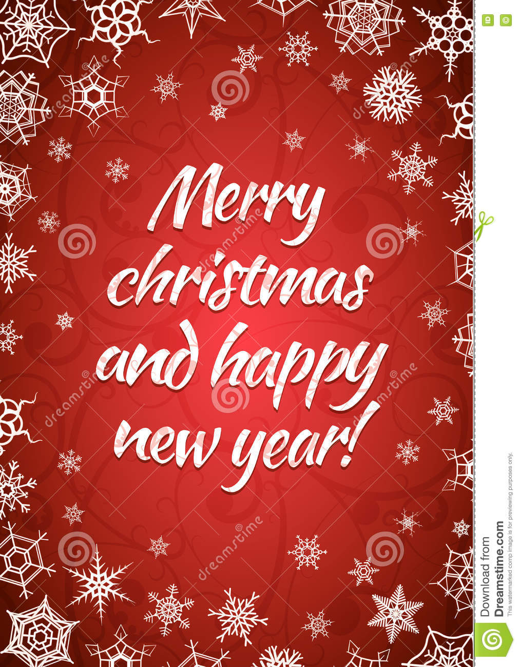 Merry Christmas And Happy New Year Red Greeting Card Vertical