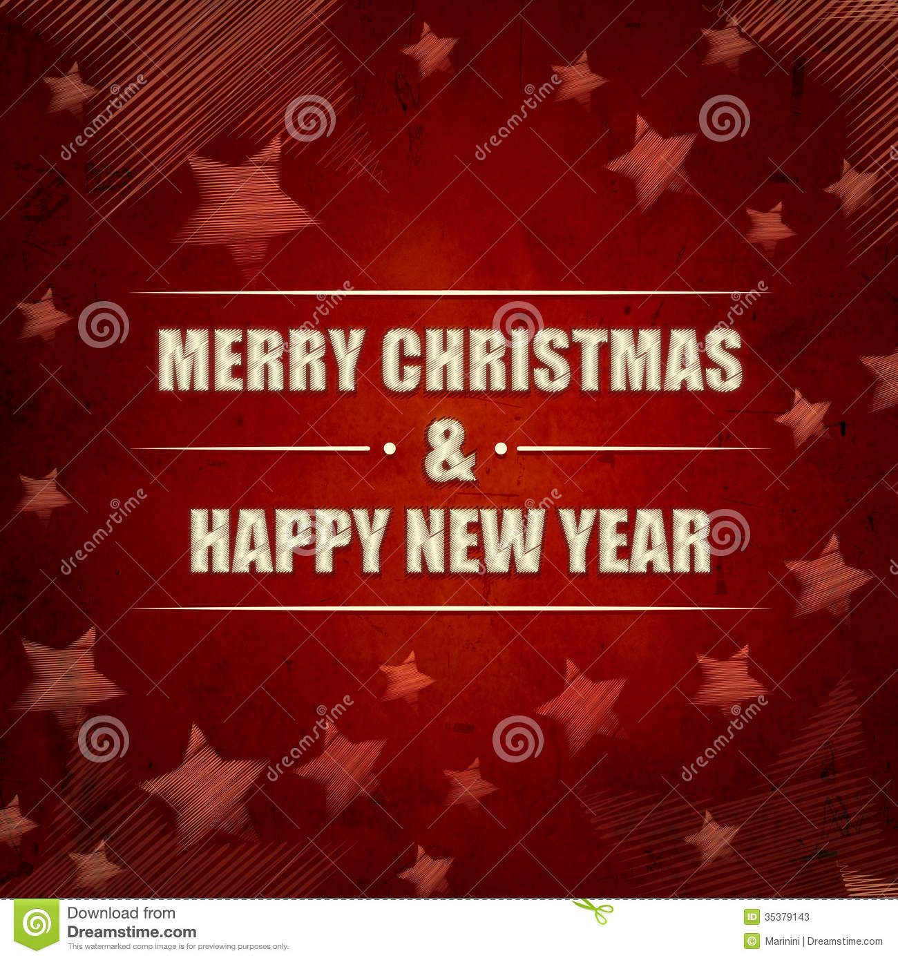 Merry Christmas And Happy New Year, Red Retro Background With St Stock ...