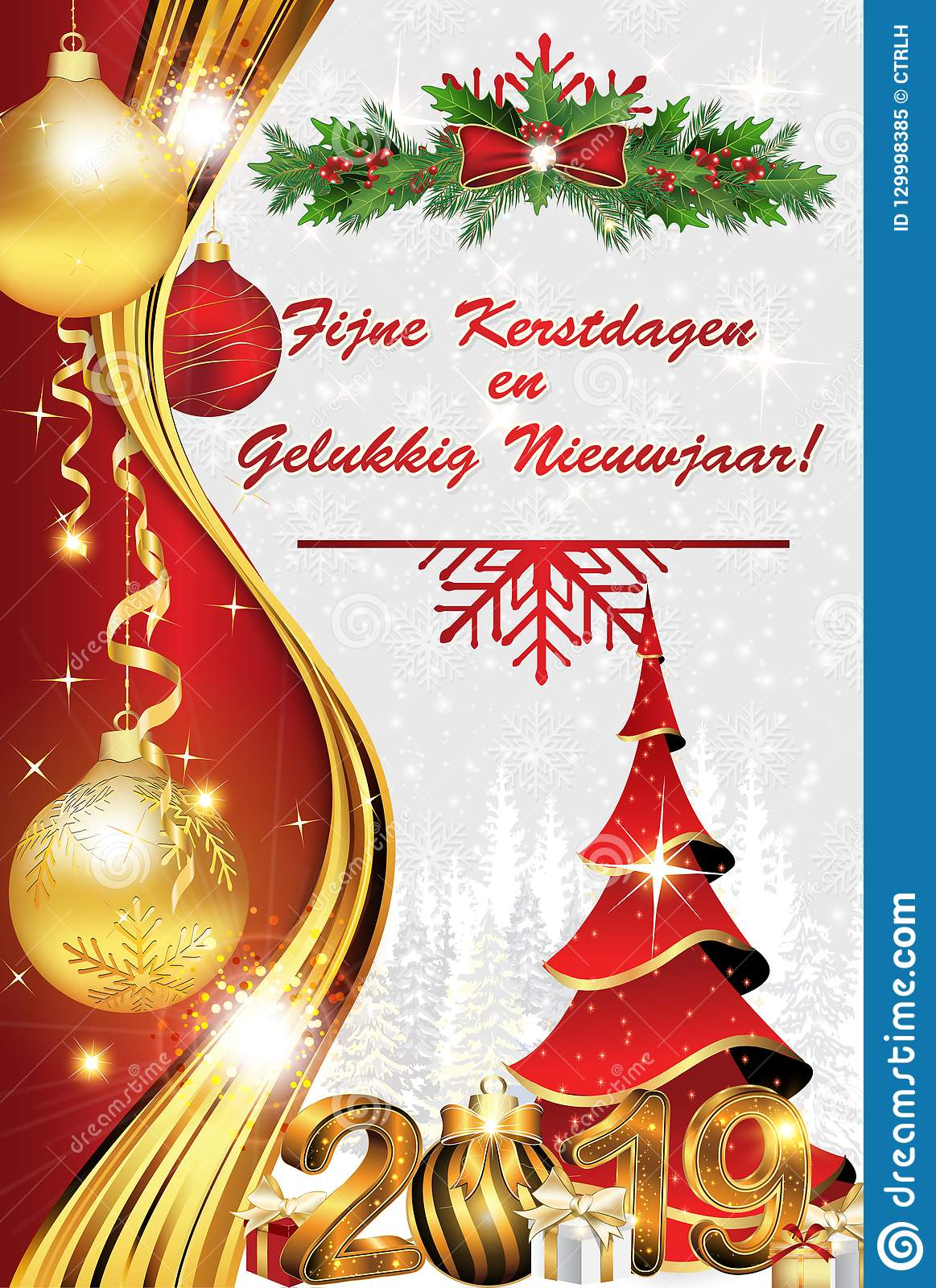 merry christmas and happy new year red and silver dutch greeting card