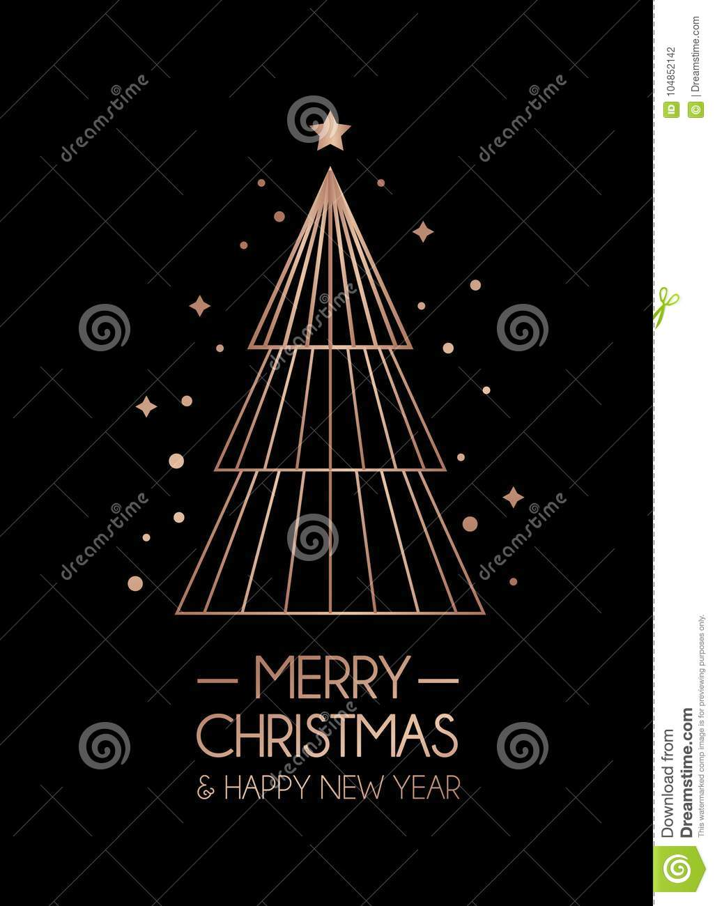 Merry Christmas And Happy New Year Rose Gold Greeting Card Minimalistic Christmas Card On Black Background Stock Vector Illustration Of Element Black 104852142