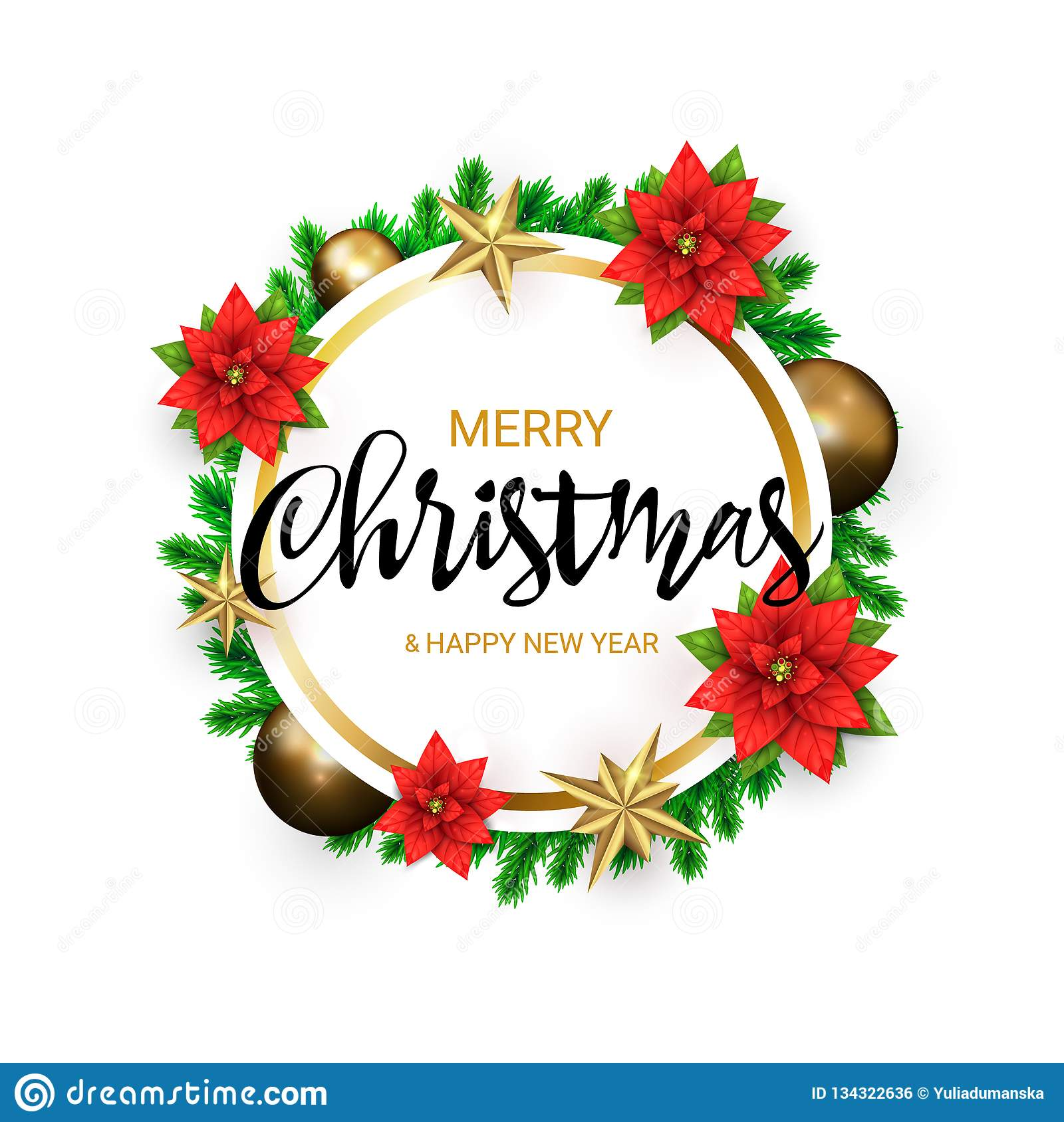 2019 merry christmas and happy new year round banner with a wreath of green pine branches and golden stars poinsettia stock vector illustration of decoration festive 134322636 https www dreamstime com merry christmas happy new year round banner wreath green pine branches golden stars poinsettia decorated gold balls image134322636