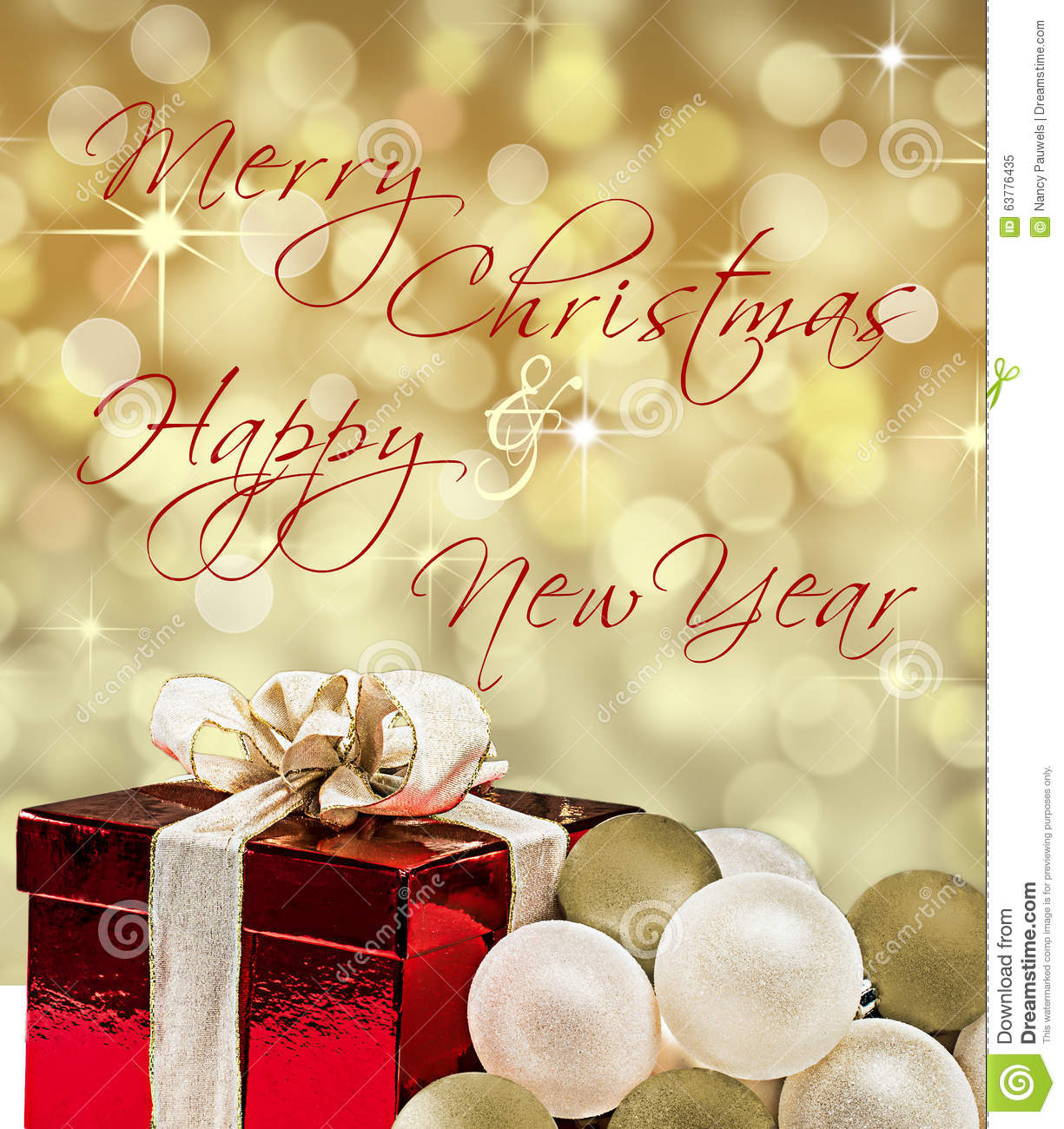 Christmas New Years Card With Text And Gift Box Stock Image