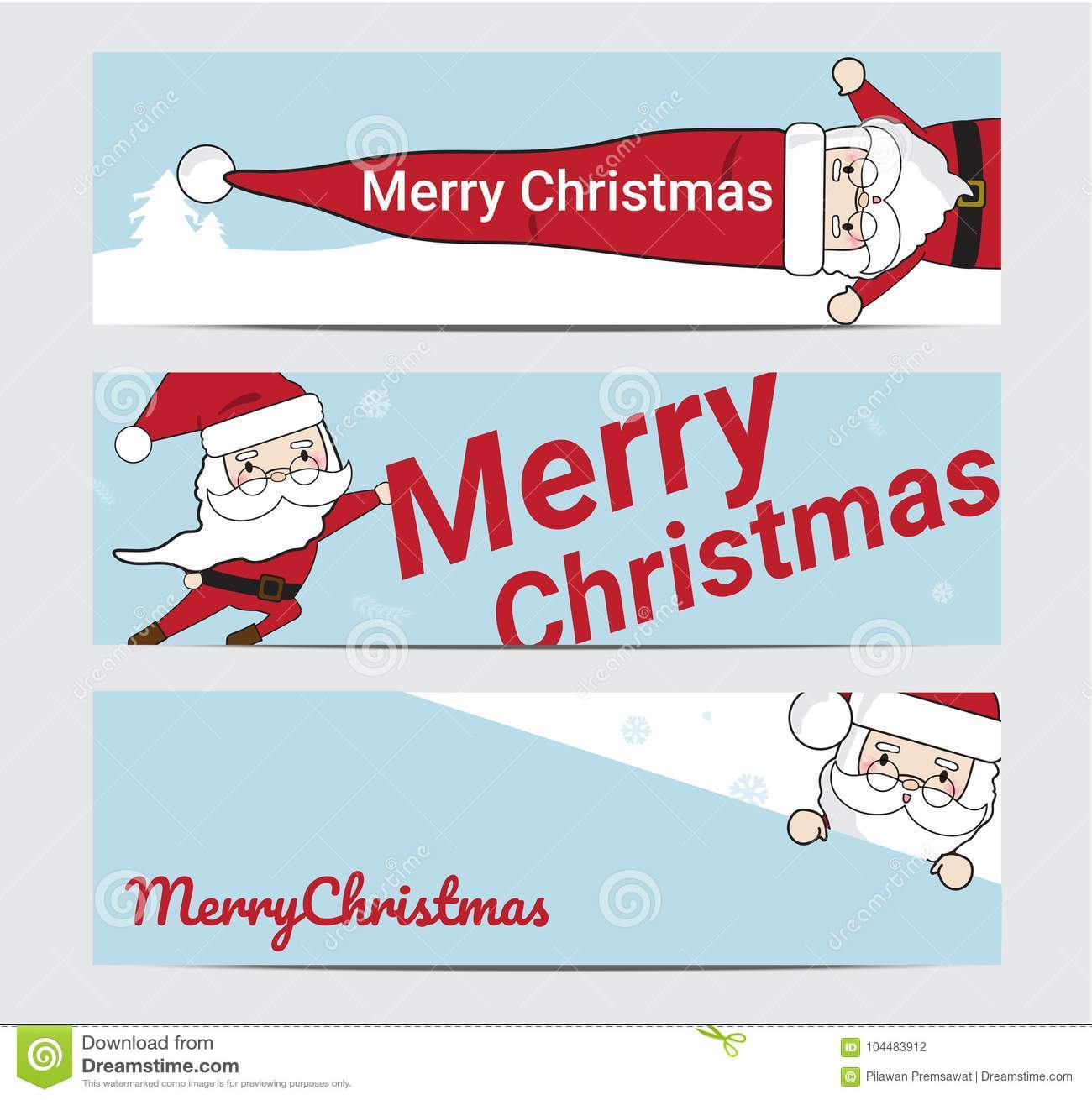 merry christmas and happy new year with santa background illustration banner