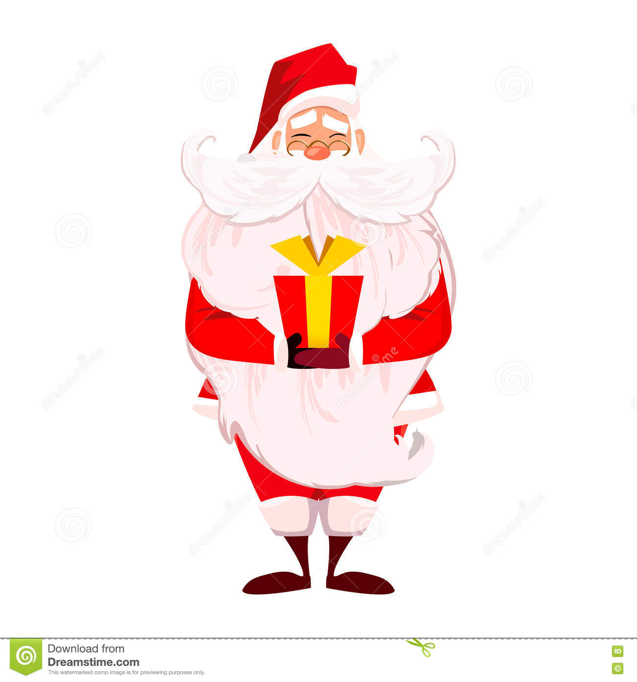 merry christmas happy new year santa claus with long beard and cute moustache in