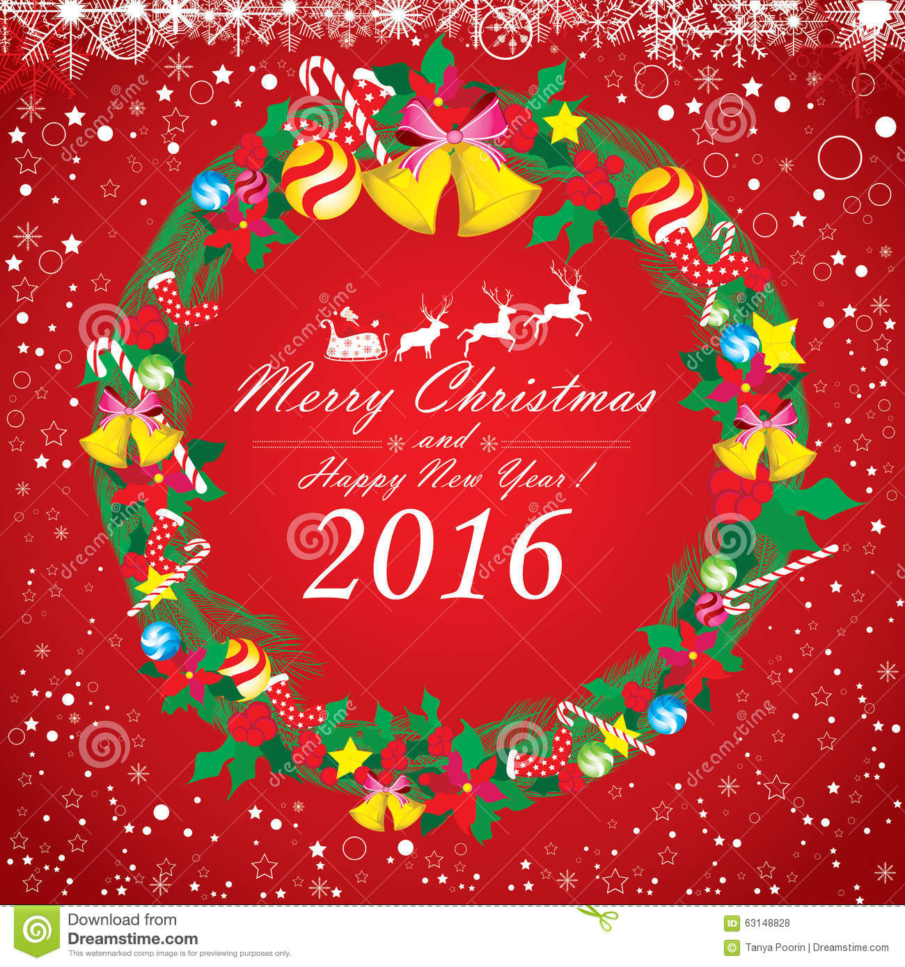 Download Merry Christmas And Happy New Year 2016. Santa Claus And Reindeer. The White Snow And Christmas Accessories On Red Background Stock Vector - Illustration of reindeer, santa: 63148828