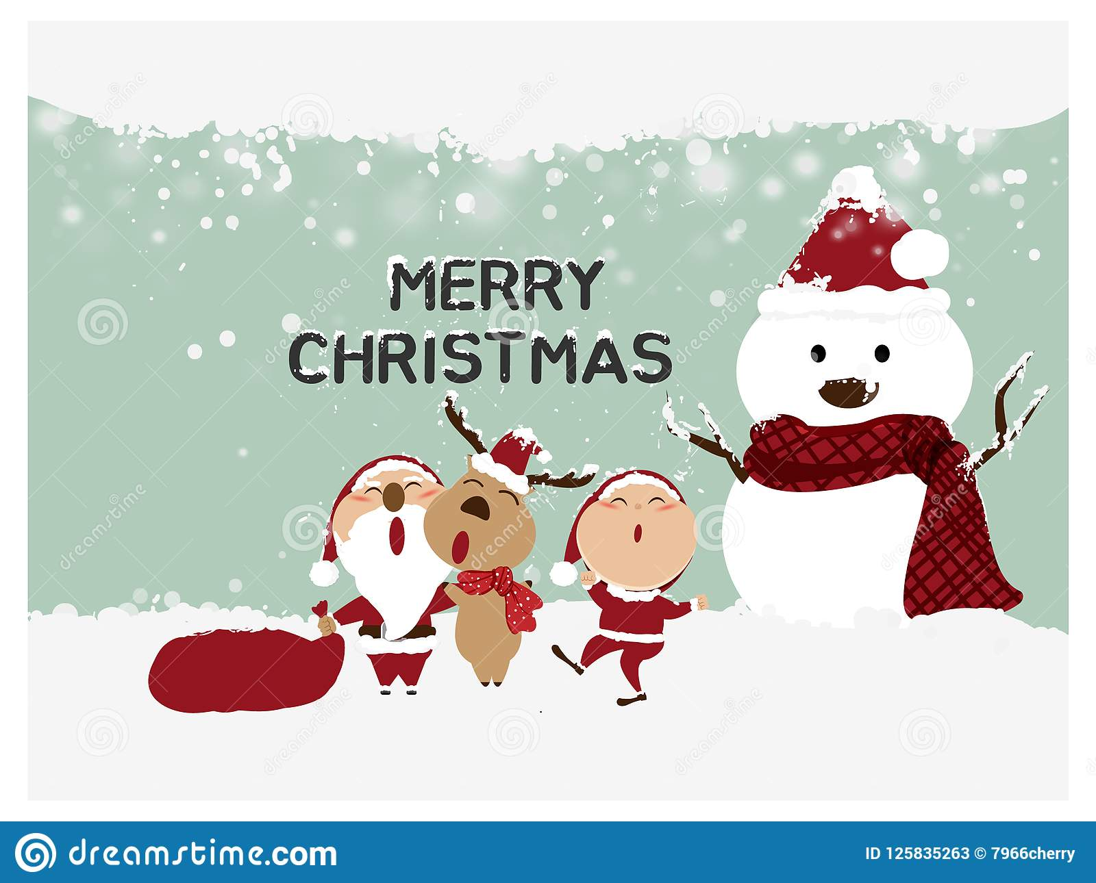 Merry Christmas And Happy New Year,Santa Claus,Snowman