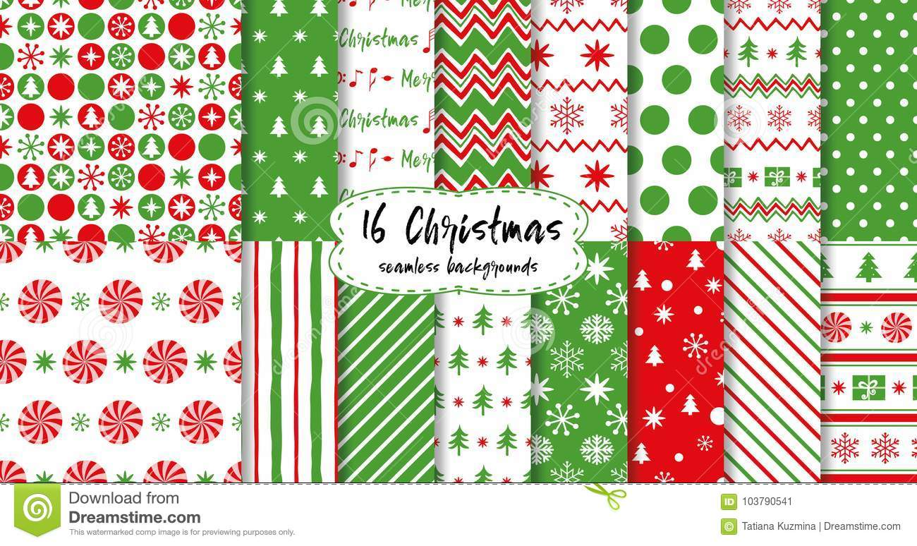 download merry christmas and happy new year seamless patterns in red green colors christmas tree - Why Are Red And Green Christmas Colors