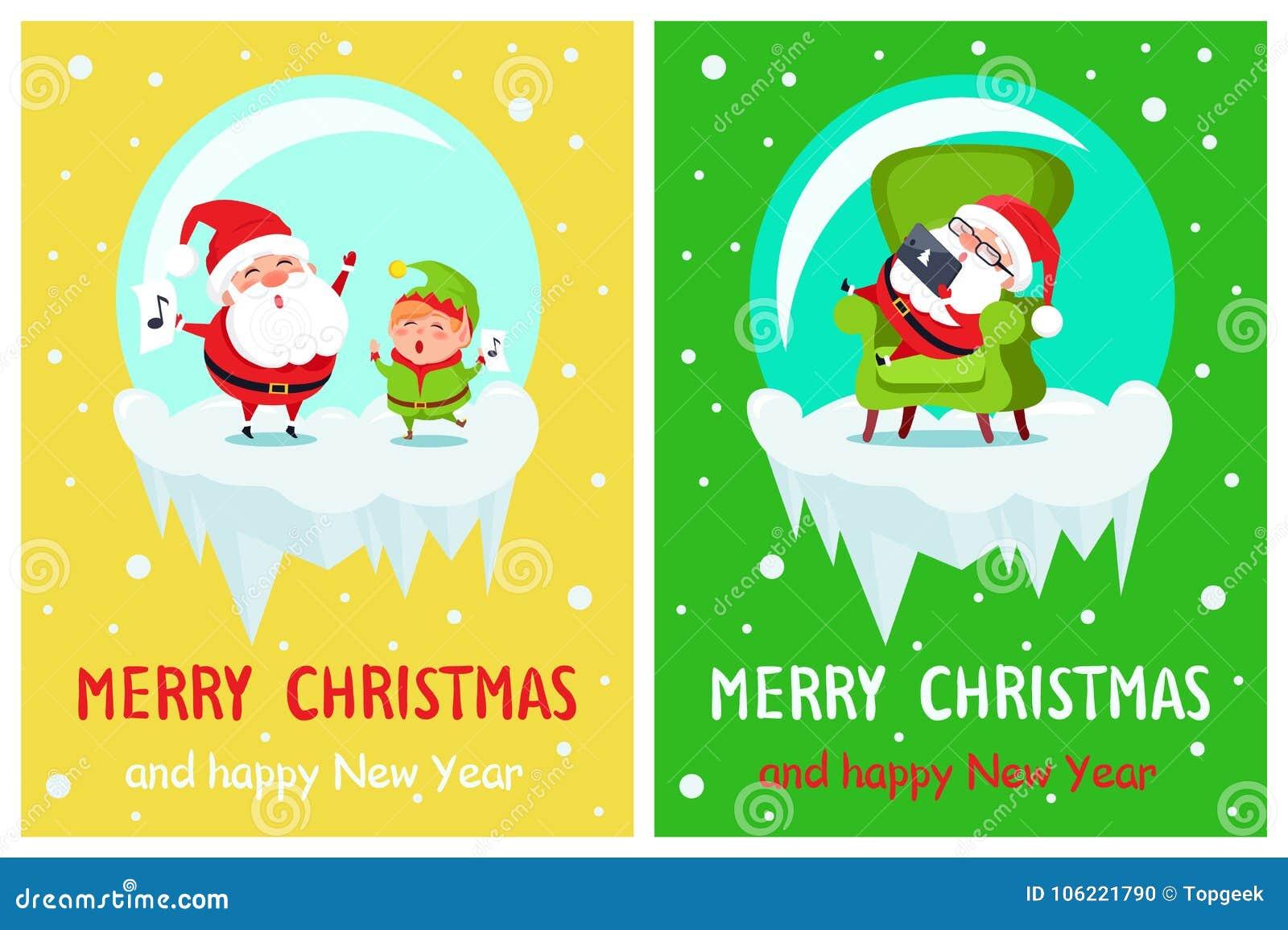 download merry christmas elf and santa vector illustration stock vector illustration of christmas isolated - Merry Christmas Elf