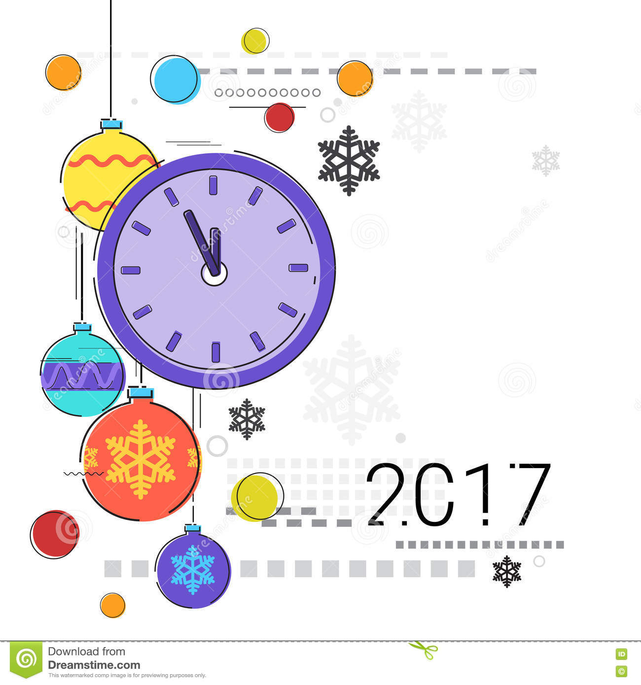 Merry Christmas Happy New Year Simple Line Sketch Banner Card ...