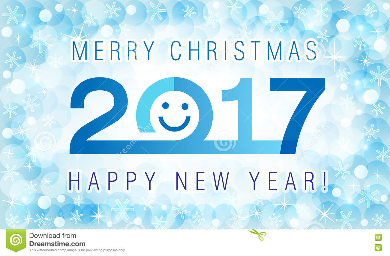 download merry christmas and happy new year 2017 smiling face card stock vector illustration of